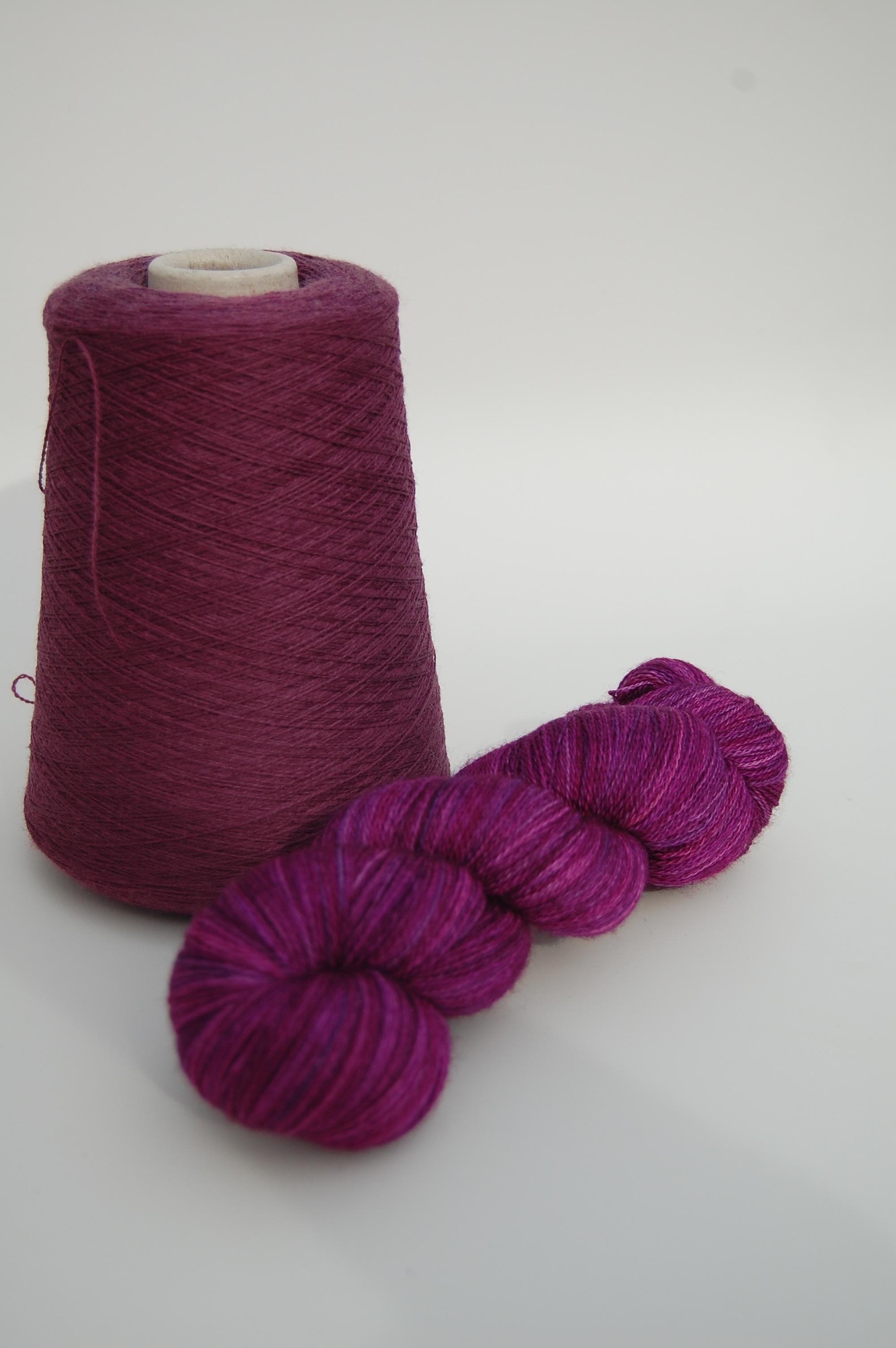 hand-dyed superwash merino wool and fine organic wool wefts