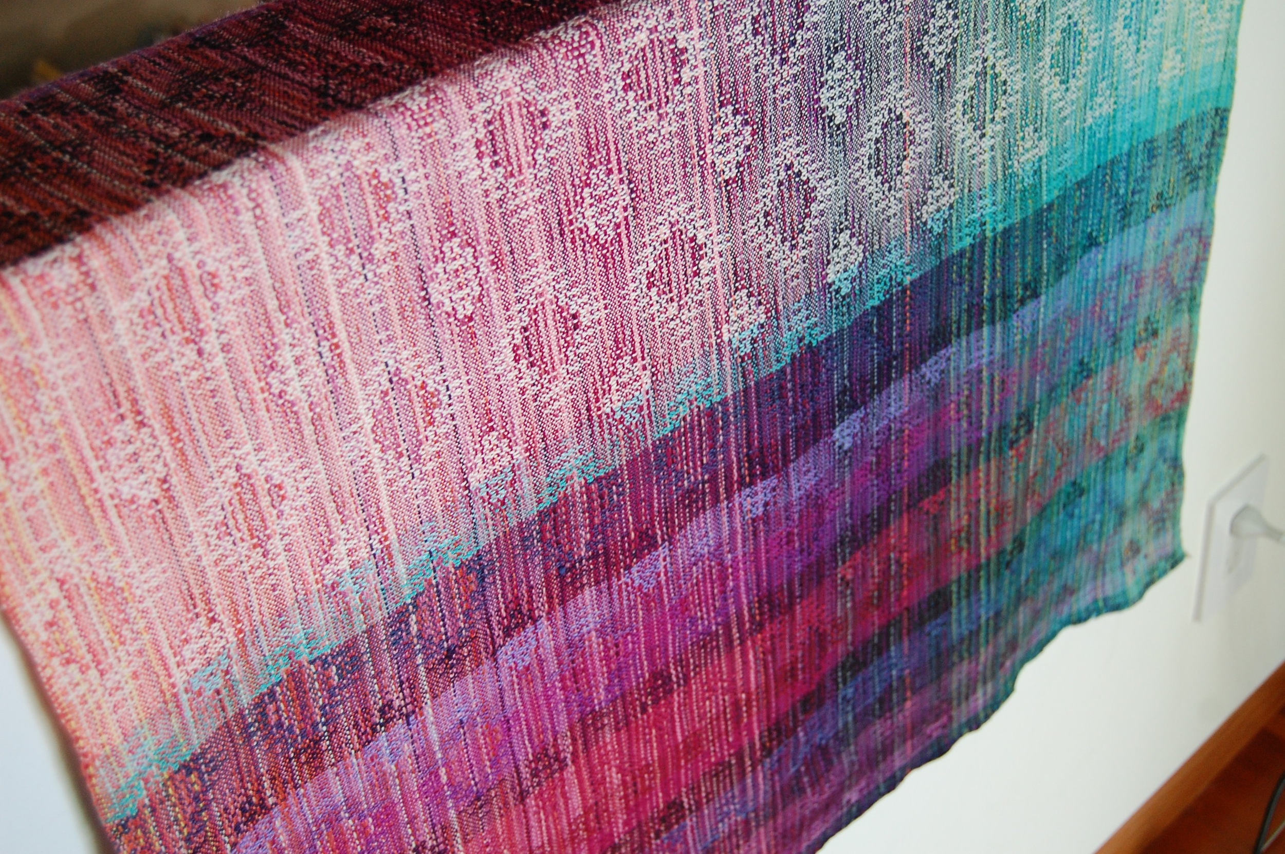 Another view of the weft-sample piece - shown here after wet-finishing.