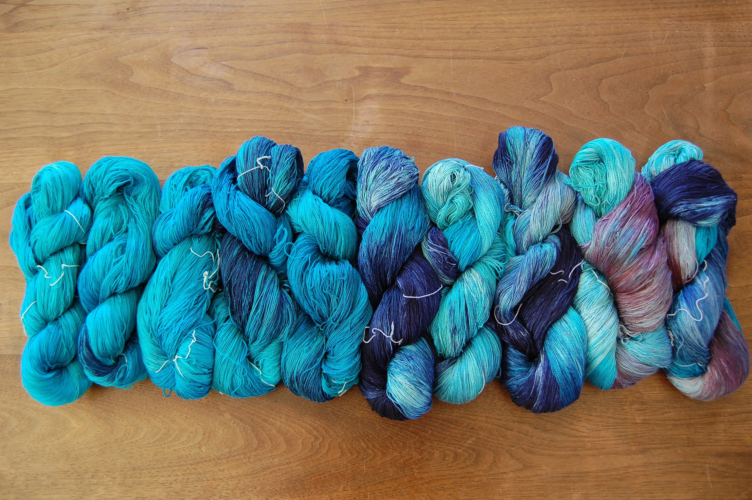 some silk: dyed, washed, rinsed and ready for the loom
