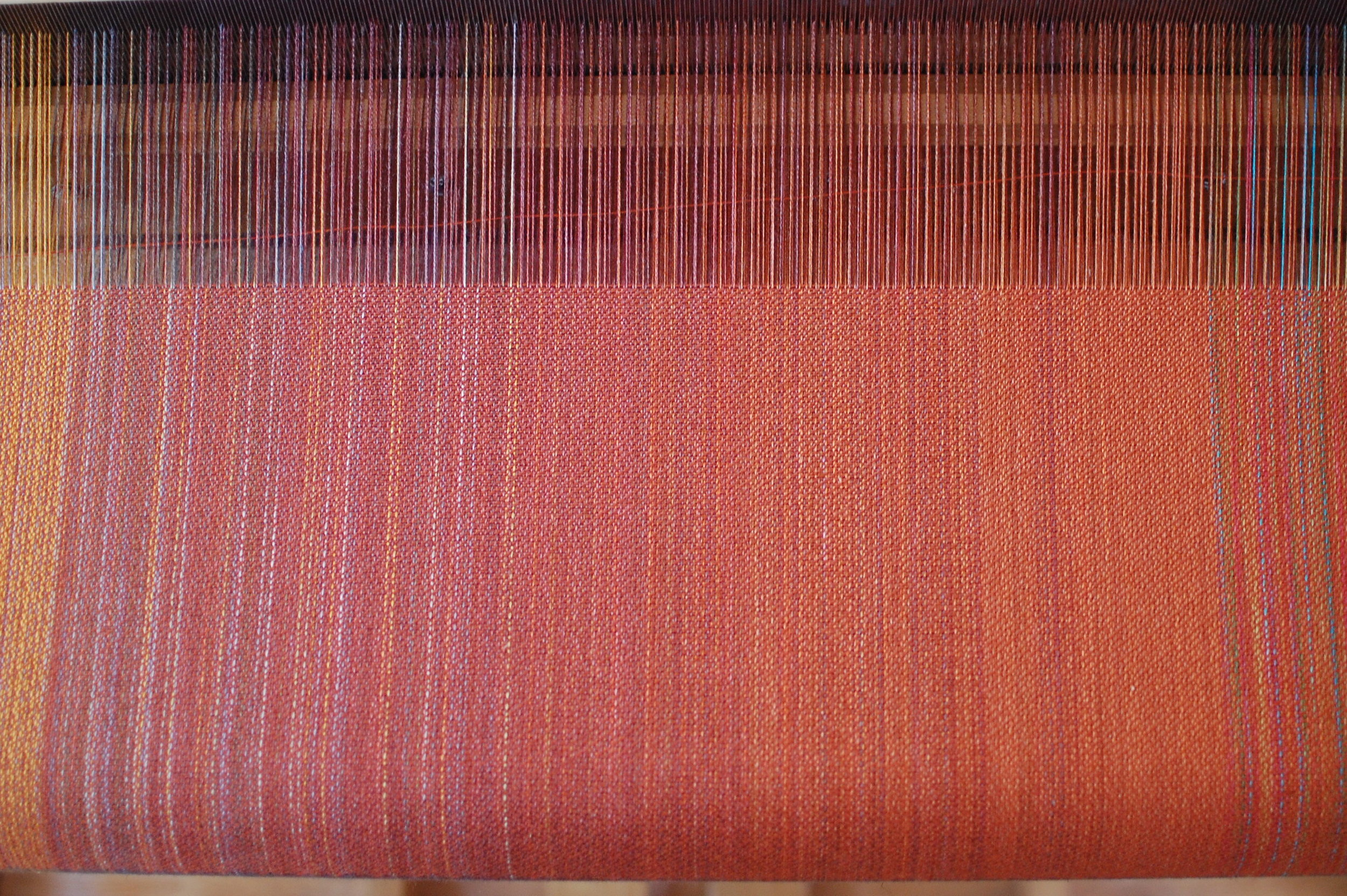 warp with rust orange cotton weft