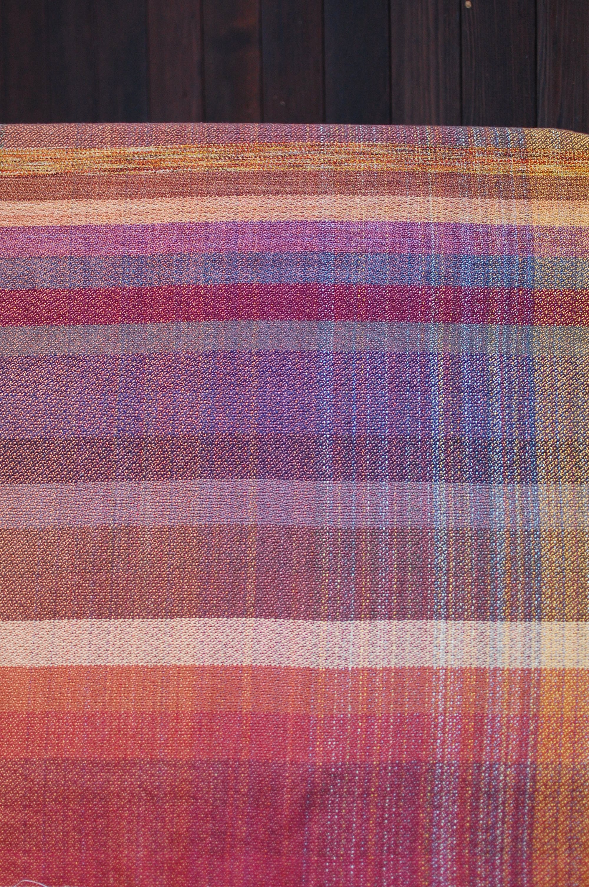 Finished sample piece - brown cottolin weft at top, followed by the wools with cottons on bottom.