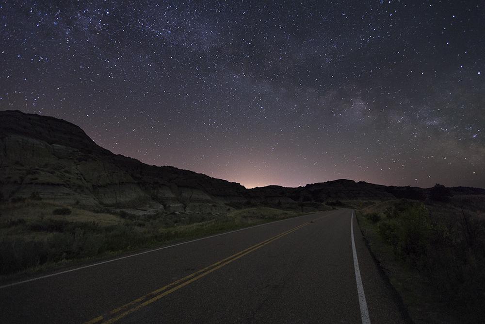 road in Teddy Roosevelt National Park, North Dakota