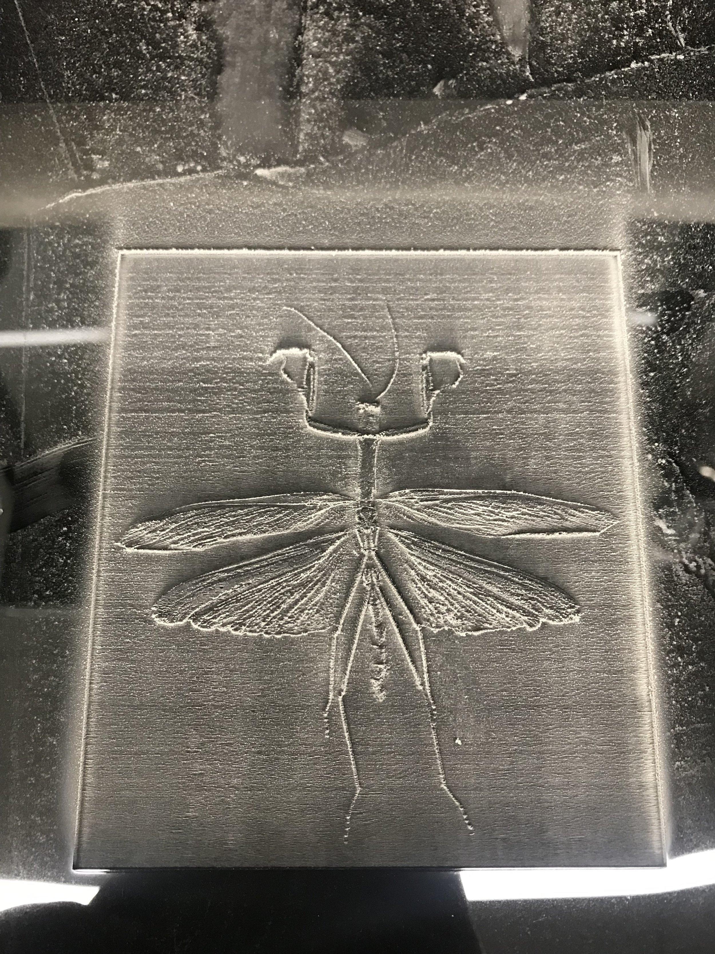 initial laser engraving pass