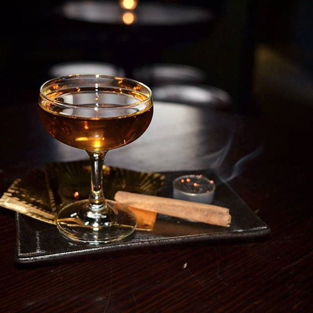 Come stay dry for a while with our Dragon Pearl.  Wild Turkey Rye, Suze, Pu-Erh Tea syrup and a gentle touch of De Kuyper Creme de Cacao. Served in a smoked glass, We think it's definitely worth putting your umbrella down for.  #liverpoolst #fightthepuerh #smokeemifyougotem #winterwarmer #melbournecocktails #melbournebars #cocktails #dekuypercocktails