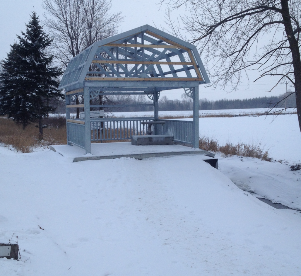 The new Elmvale Spring: in partial state of completion. Roofing has been recently added in 2014.