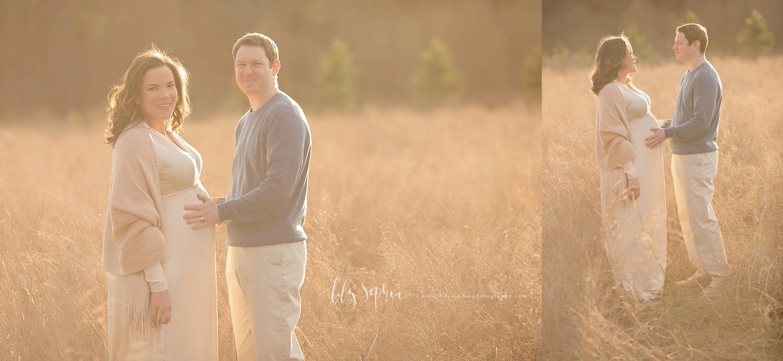 atlanta-couples-maternity-session-pregnancy-photos-outdoors-field-natural-light-sunset-buckhead-intown-grant-park-photographer