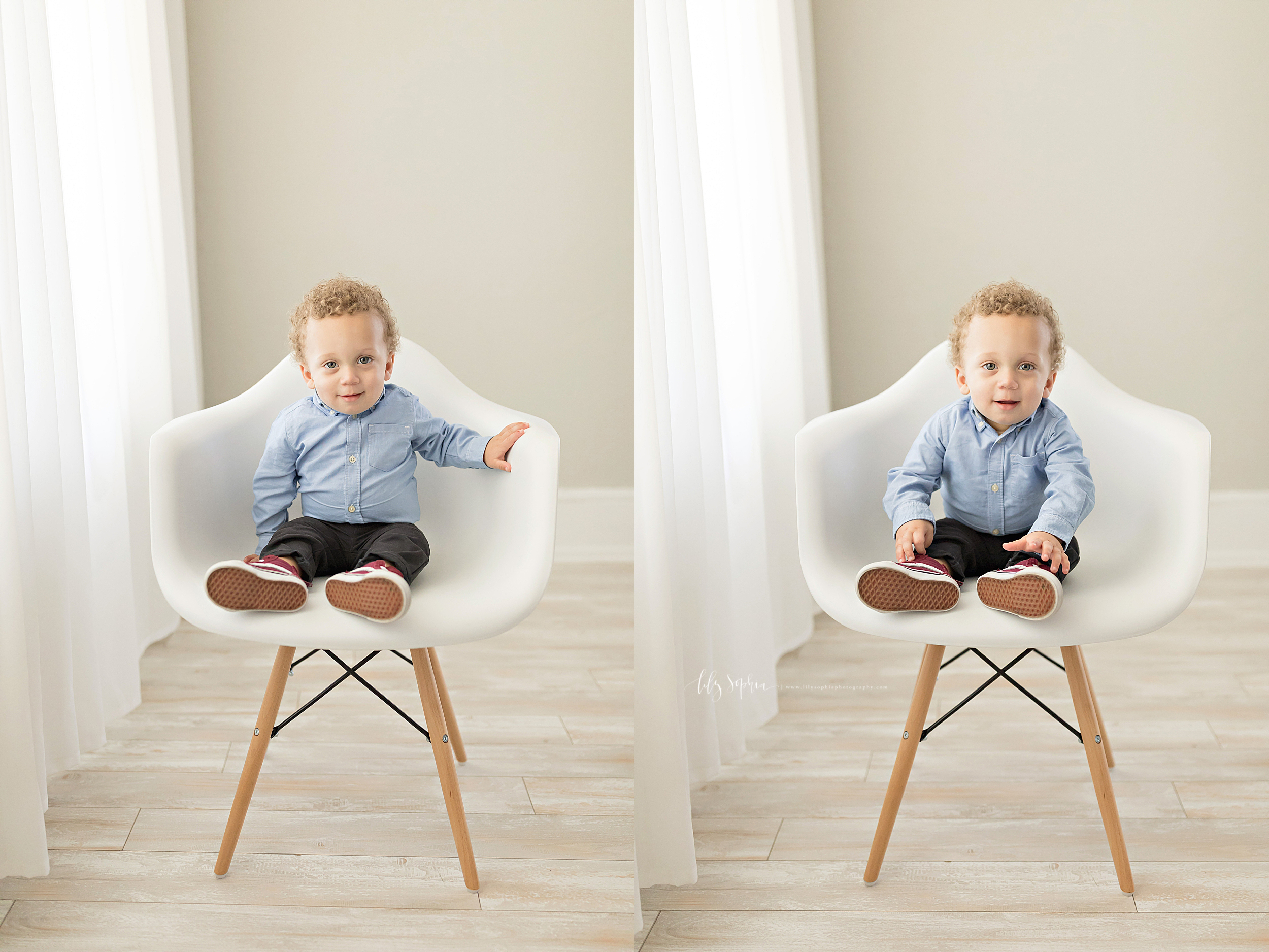Side by side images of a one year old baby boy, sitting in a chair and smiling for the camera.