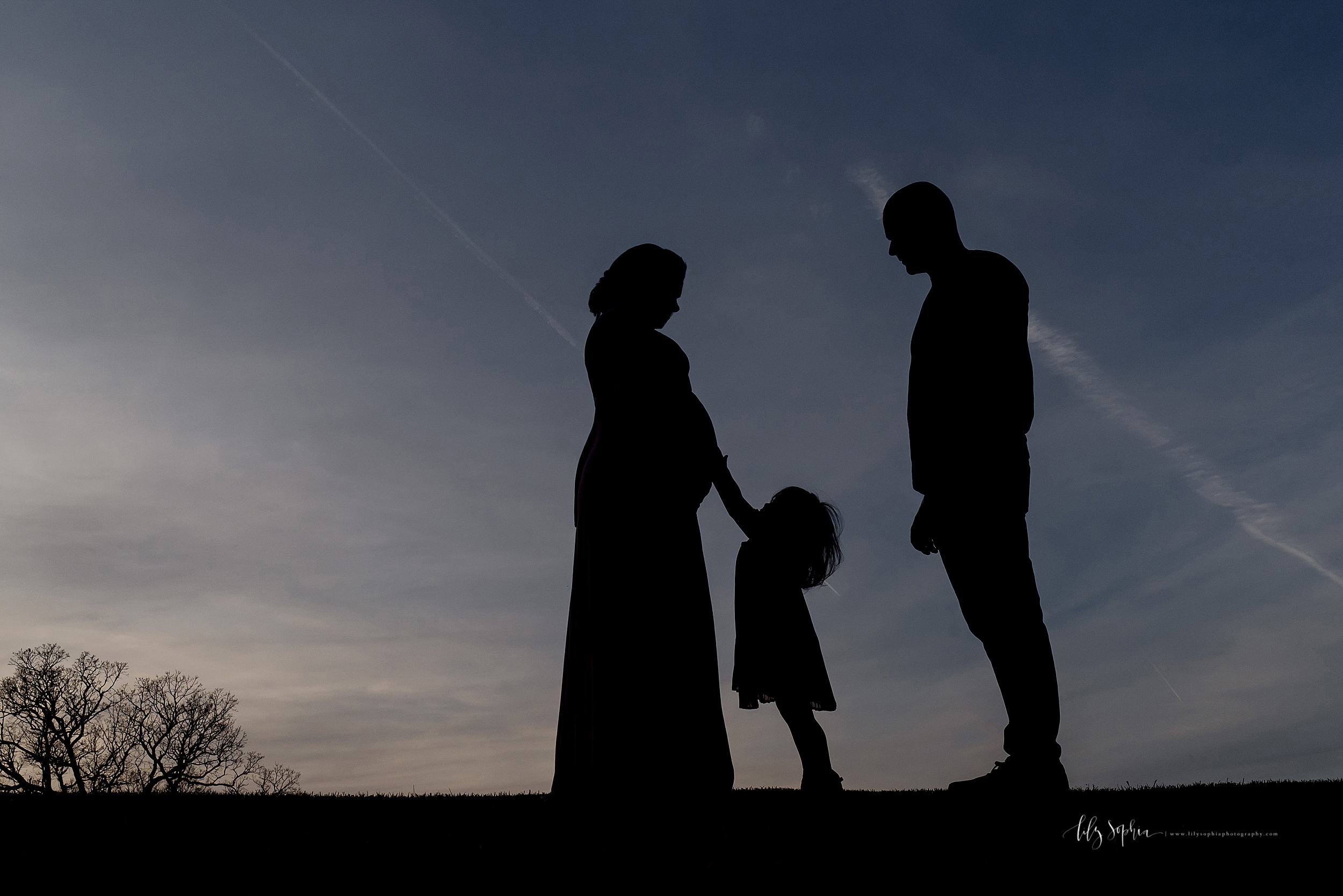 Image of a black silhouette of a family of three and their son in utero standing in a field at sunset.  Their toddler daughter is touching mom's pregnant belly.