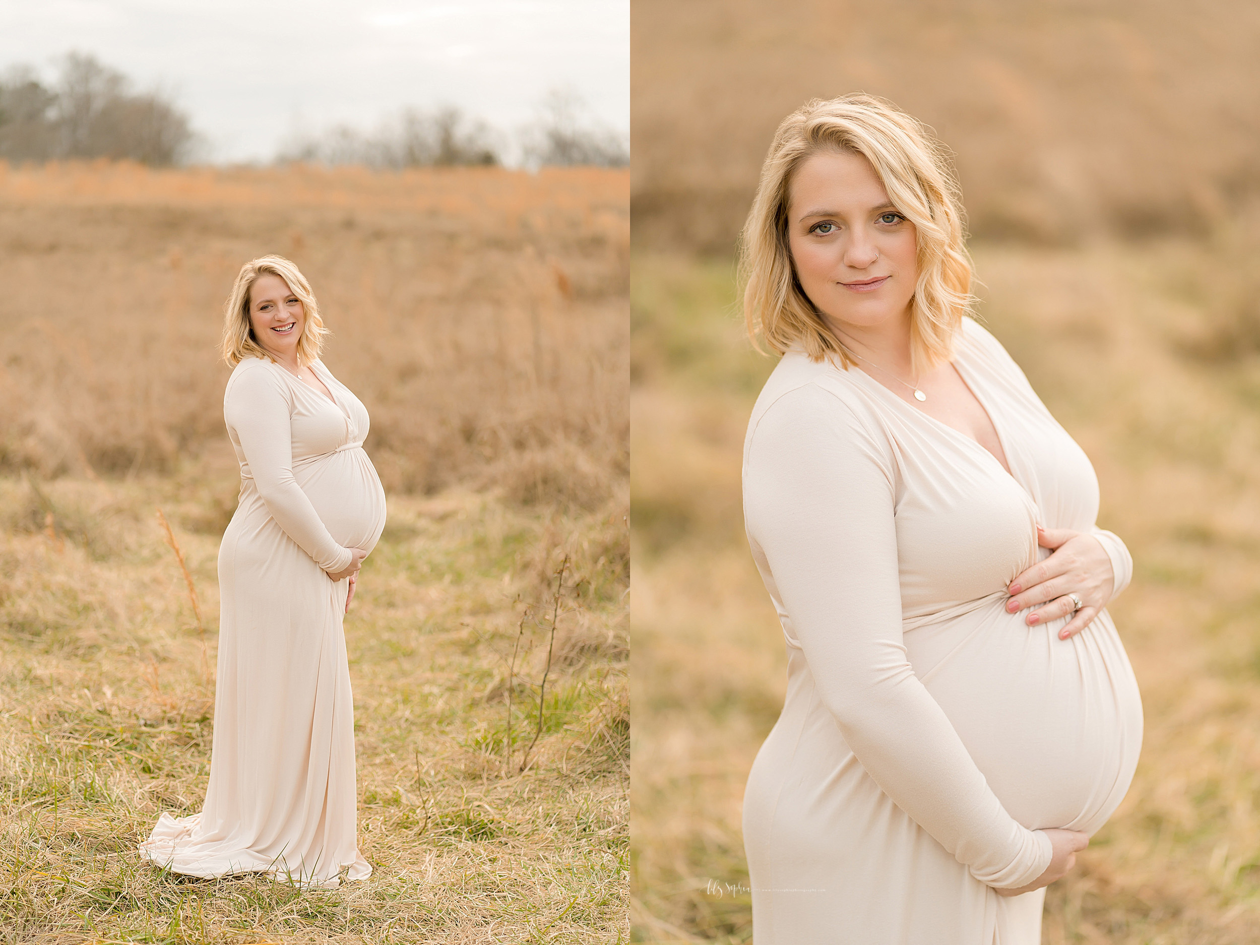 Split profile image of a pregnant woman in a field.  The blonde haired woman is looking over her right shoulder as she holds her belly to reveal her pregnancy.  In the first image she is smiling.  In the second close-up image she is pensive as she awaits the birth of her newborn.