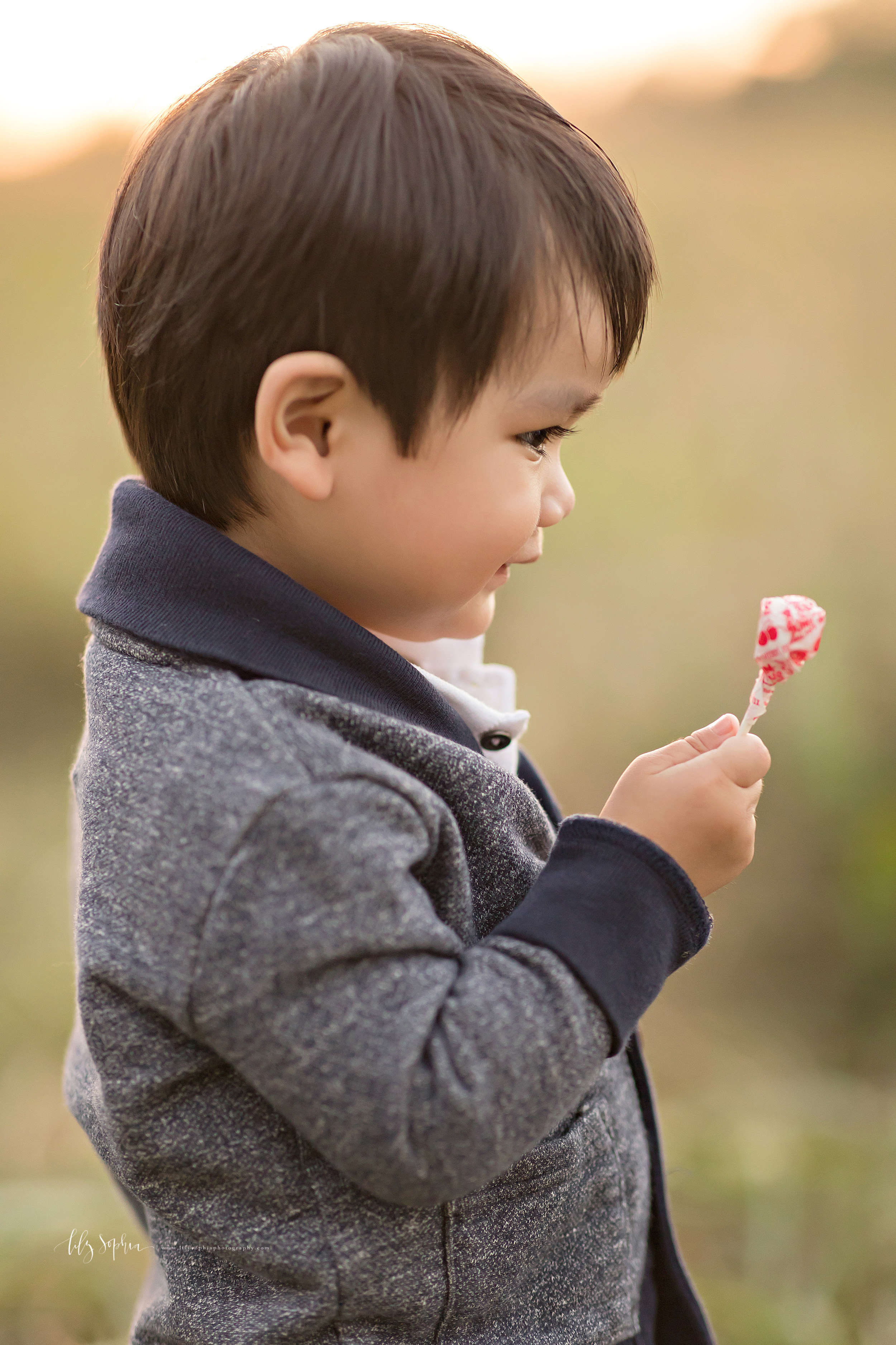 Close-up photograph of a two year old Asian boy admiring a lollipop in a field.
