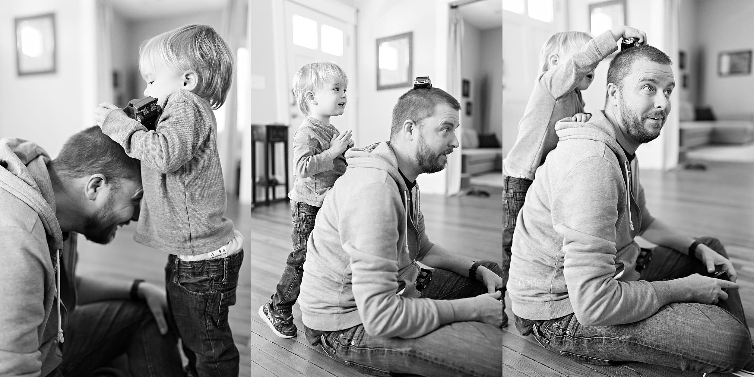 Black and white lifestyle time lapse collage of a toddler boy and his dad as the toddler balances a car on on his dad's head in their home in Atlanta.