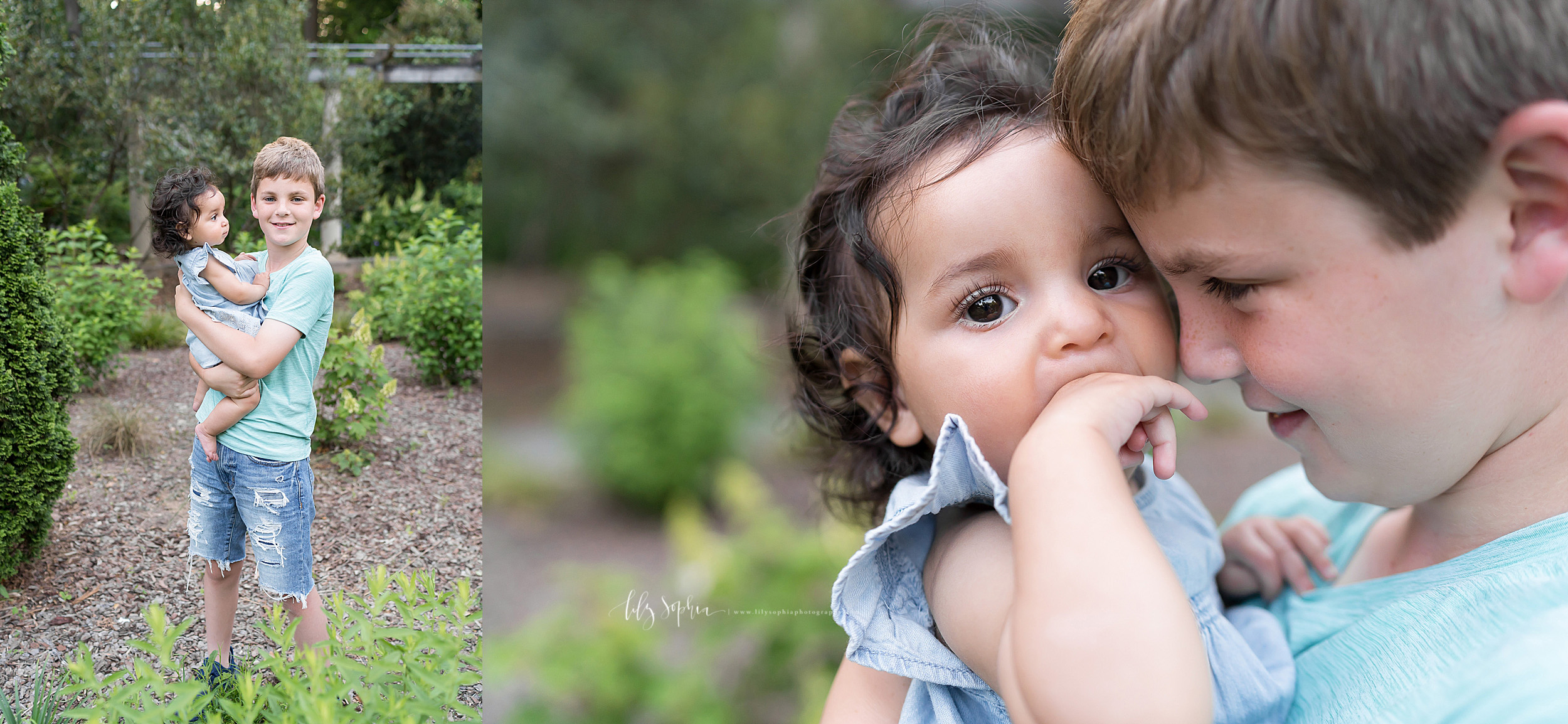 Split image photo of siblings taken by Lily Sophia Photography in an Atlanta garden. The older brother is holding his baby sister as she looks at him. In the second close-up shot, the older brother has his forehead against his baby sister as she puts her fingers in her mouth.