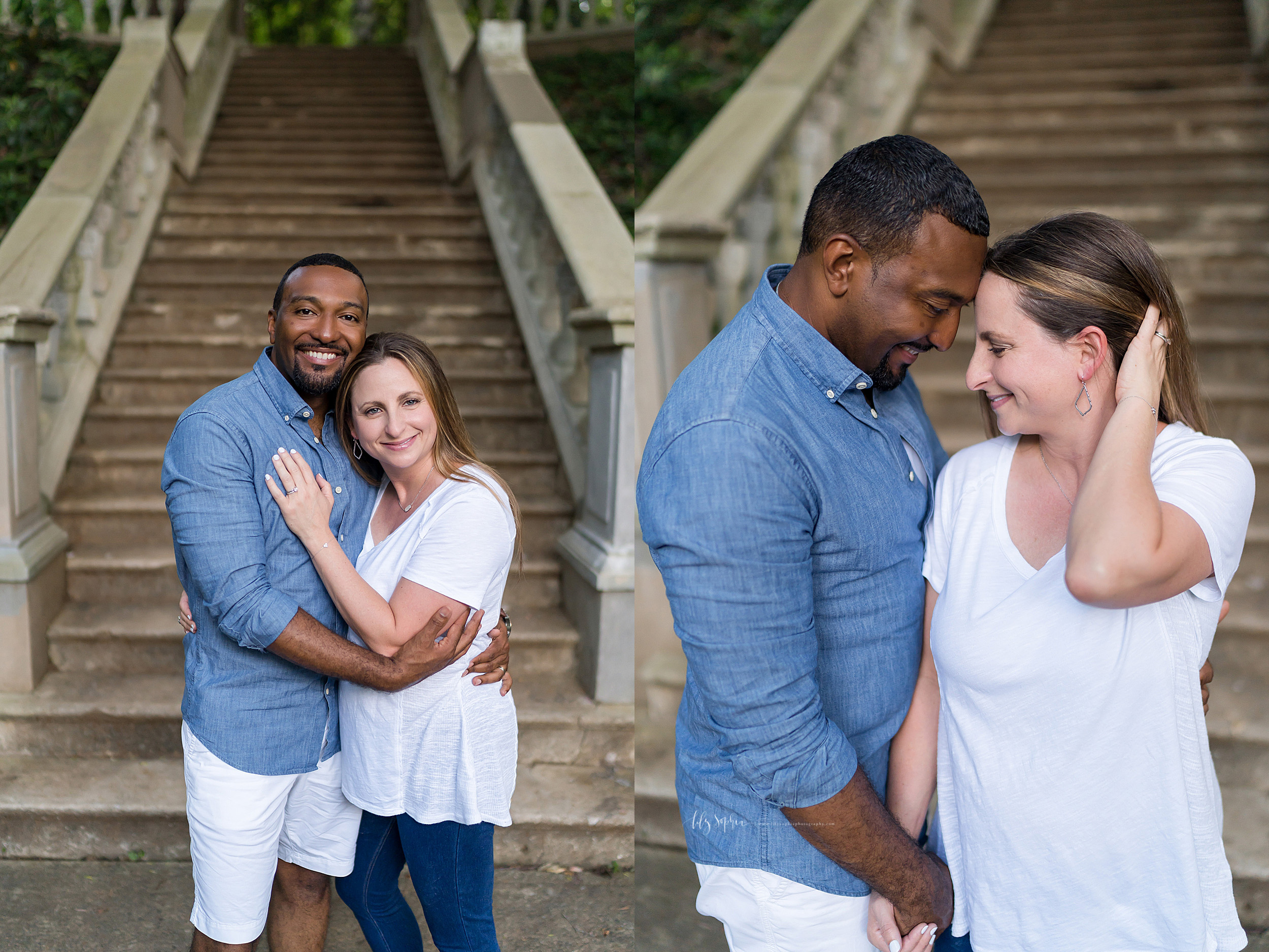 Split image photo of an African-American husband and his caucasian wife in an Atlanta garden. The couple stand at the foot of a stone staircase. The husband is standing to the left of his wife and has his left arm around his wife's waist and his right arm on his wife's right upper arm. His wife has her right hand on her husband's chest and her head resting against her husband's bearded face. In the other photo the husband is facing his wife to showcase his profile. His wife is standing next to him facing forward. The husband and wife are holding their right hands together and the wife has her left hand in her hair.  The couple is looking at one another as they touch one another's foreheads.