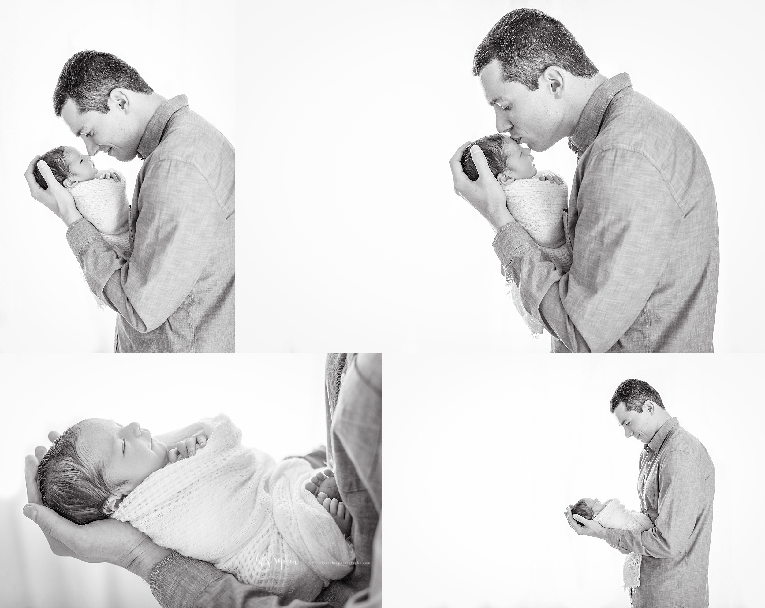 Quad image collage of a father holding his newborn son taken by Lily Sophia Photography. In one photo the father is nose to nose with his newborn son as he stands and cradles his head in his hands. In the second image the father is kissing the forehead of his newborn son as he cradles the newborn's head in his hands. In the third close-up image, the father is holding his newborn in his arms with the newborn's head in his hands and the rest of the newborn's body on his forearms, with the newborn's feet against the father's chest. In the fourth image, the father is standing, looking lovingly at his newborn as he cradles the newborn's head in his hands and supports the rest of his son's body on his forearms.