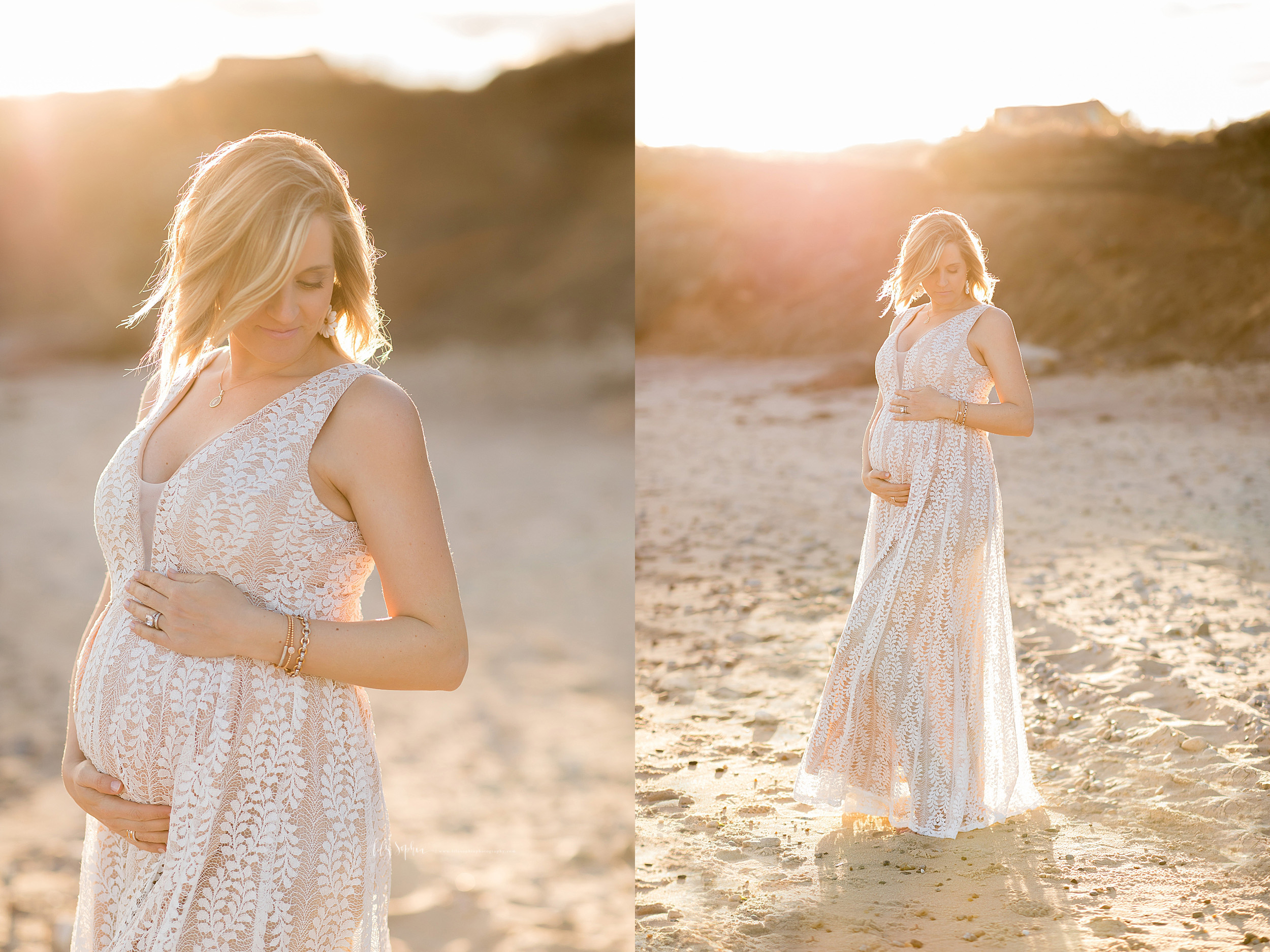 Maternity photo of a blonde woman in a lace overlay full-length sleeveless gown with a V-neck at sunset at the cliffs of Montauk, Long Island taken by Lily Sophia Photography out of Atlanta.