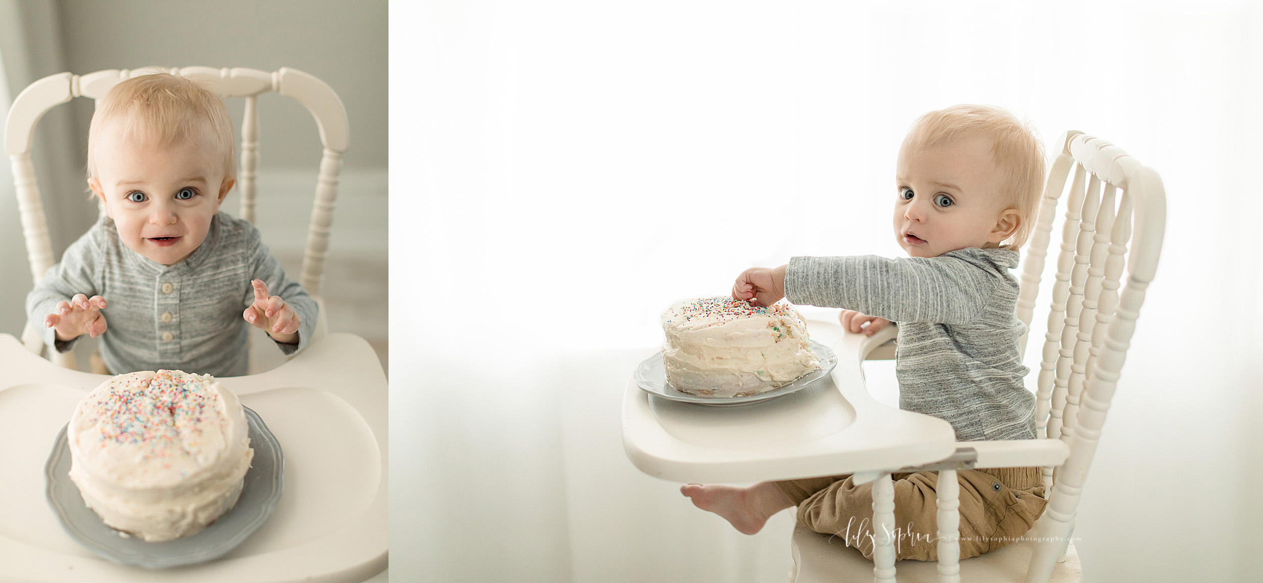 Split image photo of a first birthday boy in a natural light studio in Atlanta with his birthday cake.  The little boy is sitting in an antique high chair He has the cake on the tray.  In one photo you see his excitement as he gets ready to dive in.  In the other photo you see him sticking his hand into his first birthday cake.