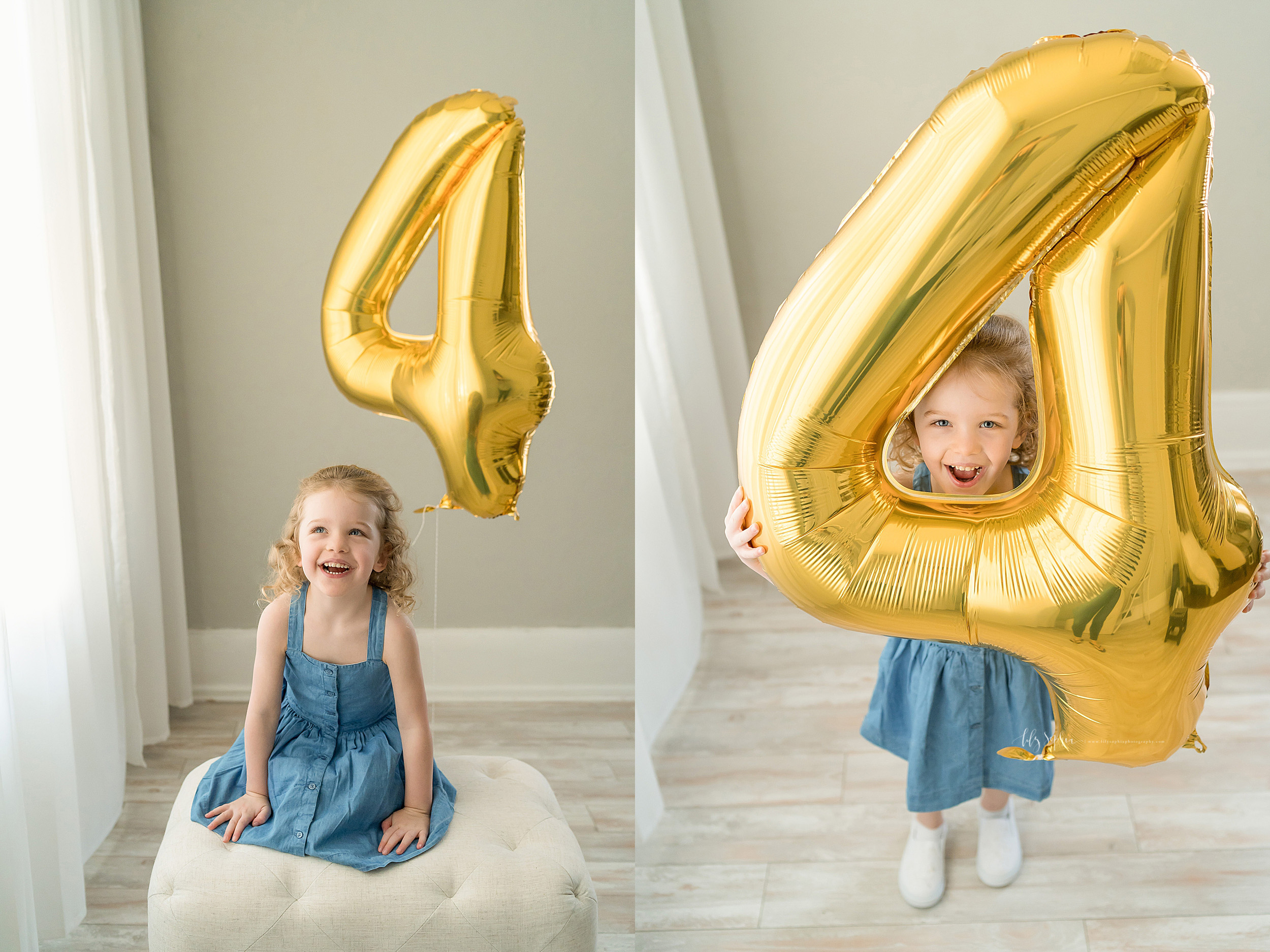 Split image milestone photo of a curly haired red-headed little girl sitting on a cushion next to a large gold number 4 balloon and standing while peeking through the large gold number 4 balloon in a natural light studio in Atlanta.