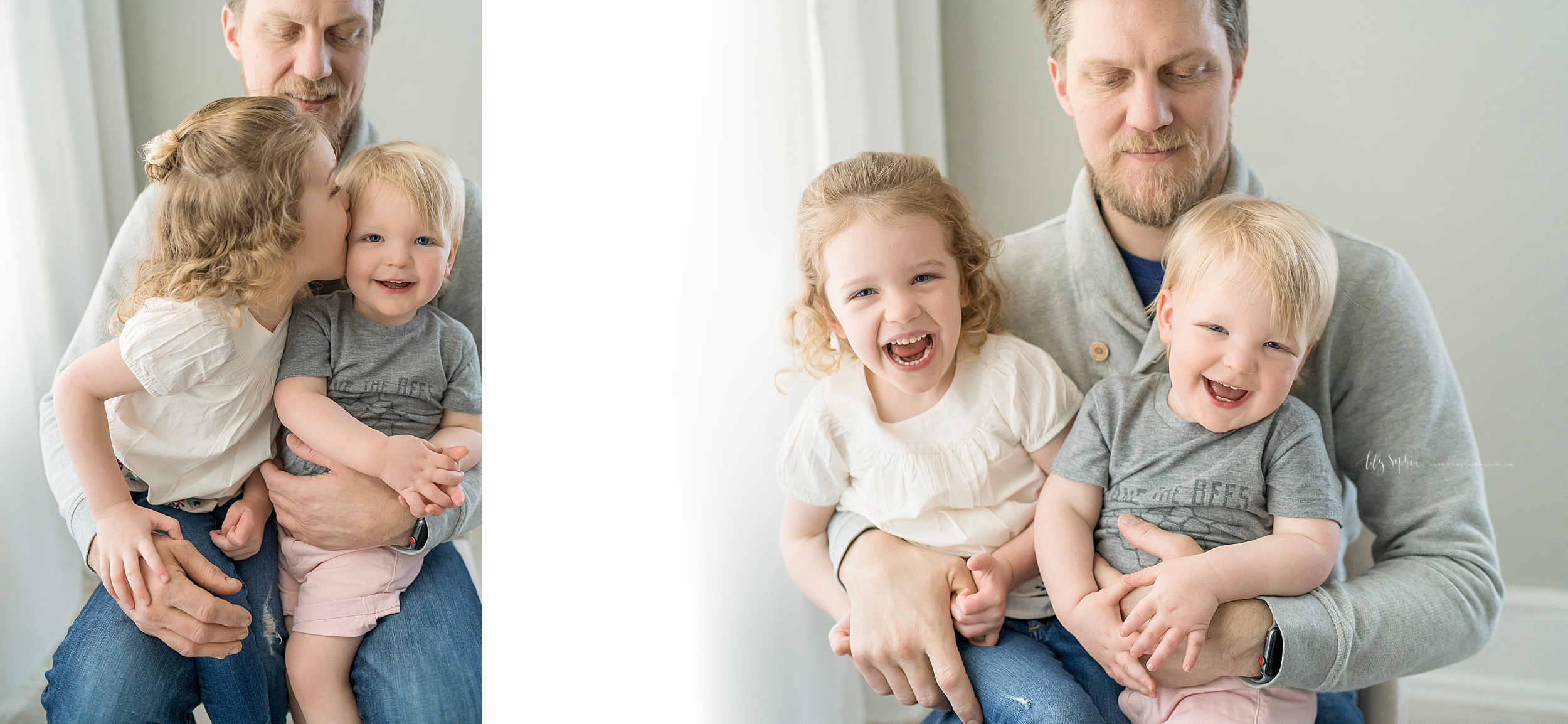 Family photo of a dad with his happy young daughter and son sitting on his lap in front of a window in Atlanta in a natural light studio.