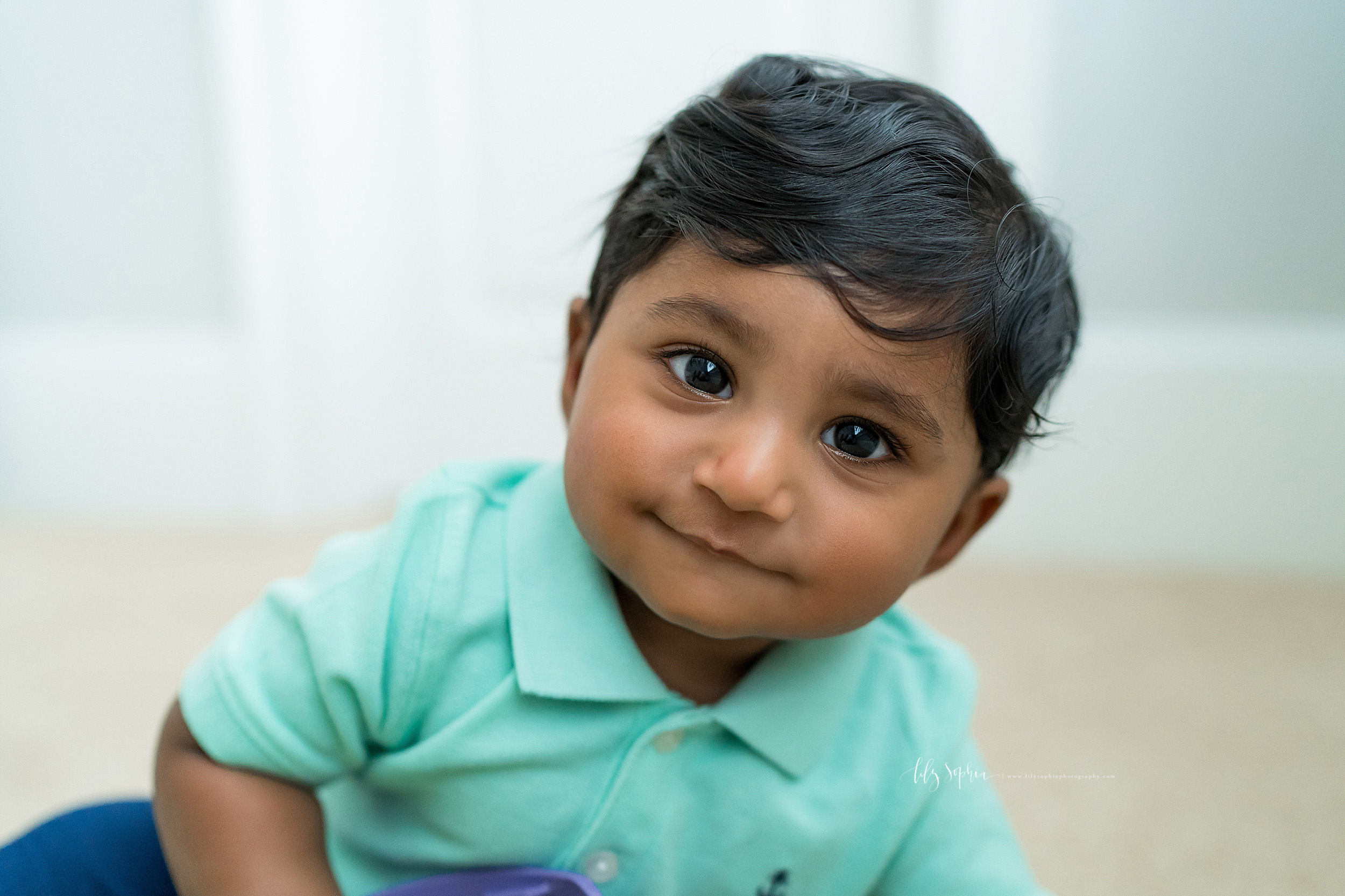 Milestone photo of an Indian baby boy at his home in East Cobb, Georgia.