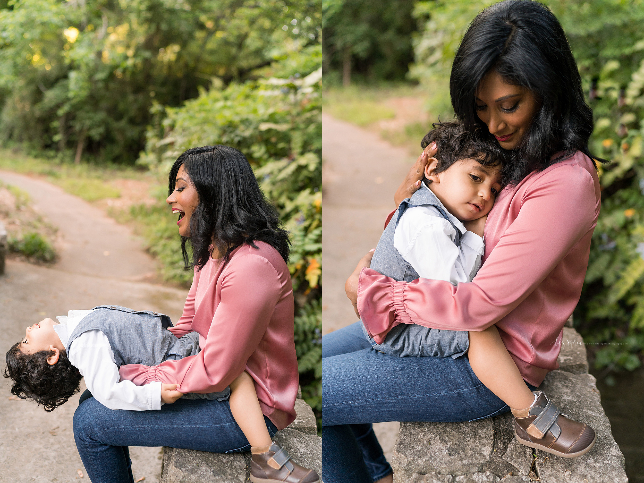Split image of an Indian mom and her son sitting on a bench in a garden in Atlanta.  In the first image the little boy and mom are playing as the son leans backward on his mom's lap.  In the second image the little boy is snuggling with his mom as she holds him against her chest.