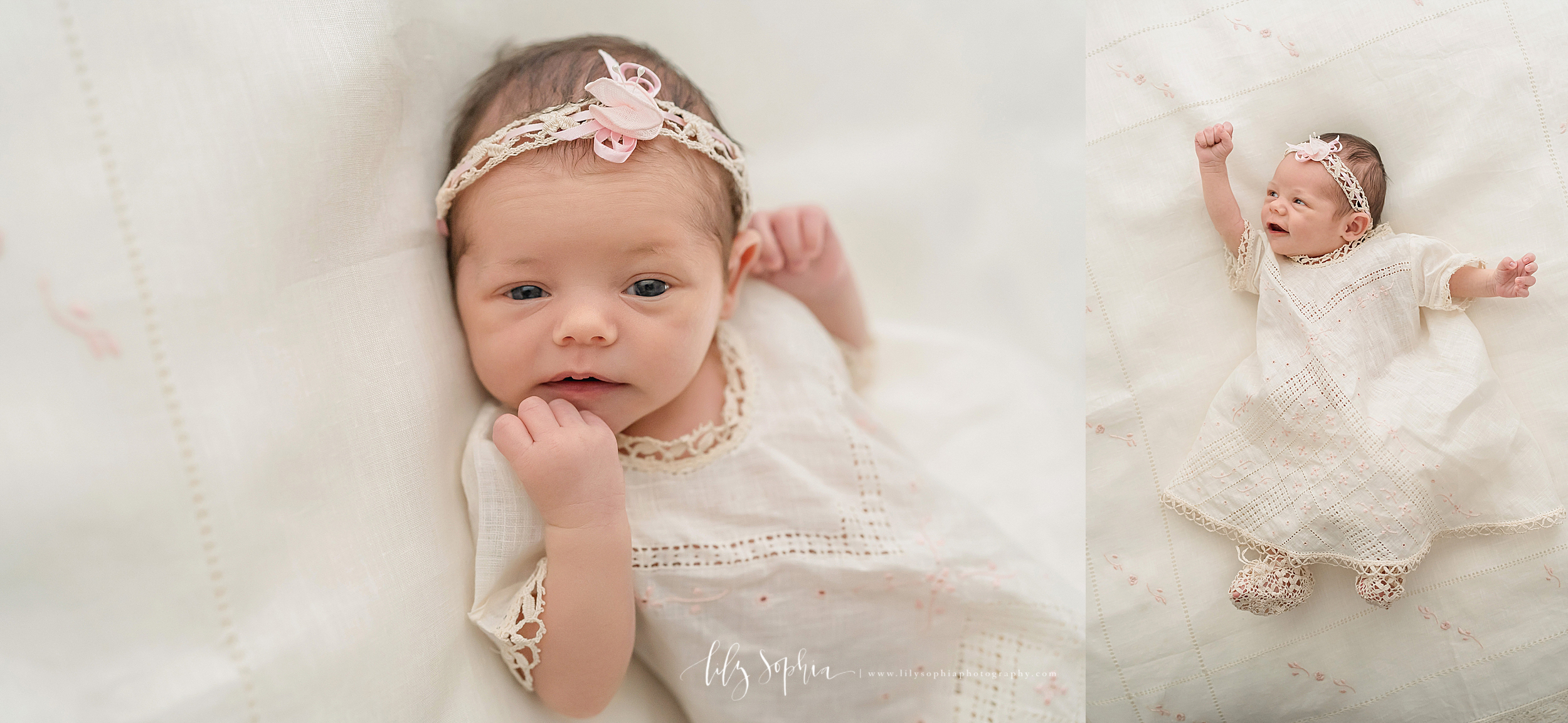 Split image of an awake newborn wearing a traditional Mexican linen dress taken in a natural light studio in Atlanta.