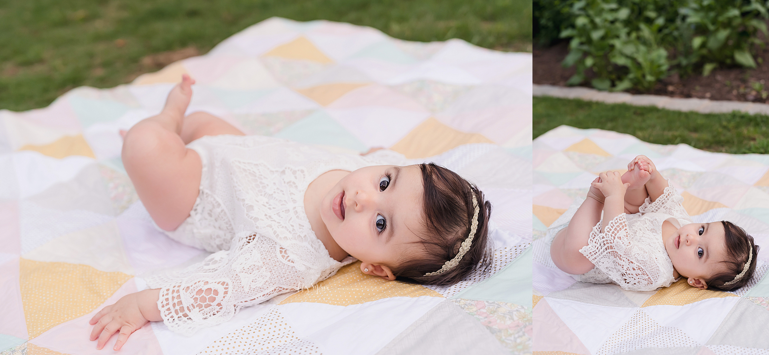 Split photo of a happy eight month old baby girl as she lays on a quilt in a lace overlay onesie and a lace headband and plays with her bare toes at sunset in an Atlanta garden.