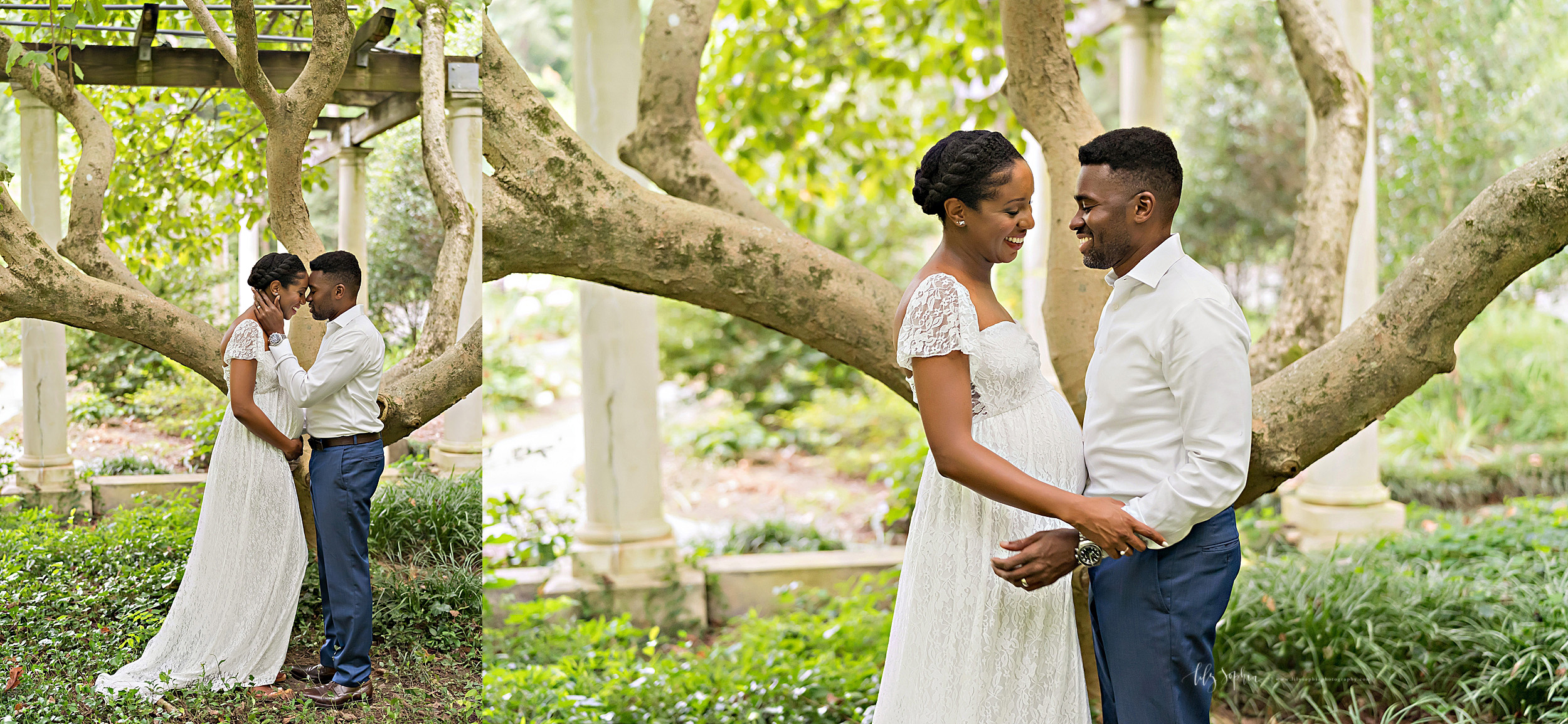 Split image photo of an expectant African-American couple as they stand in front of a tree in a garden in Atlanta, Georgia at sunset.