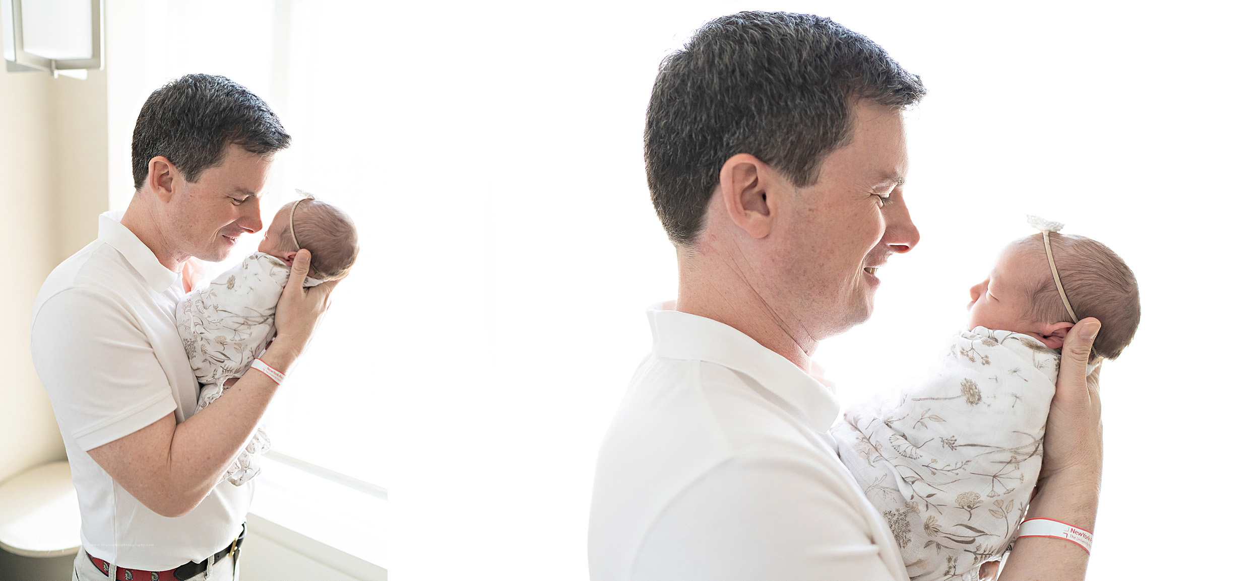 Split image photo of a father meeting and talking to his newborn daughter in Lenox Hill, New York in the hospital in natural light.