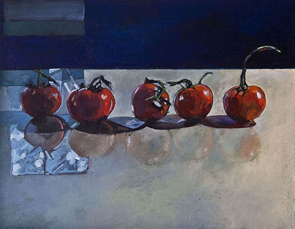 5 Tomatoes In Window Light