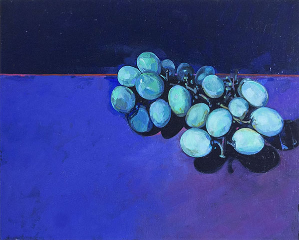 Green Grapes on Blue Tablecloth