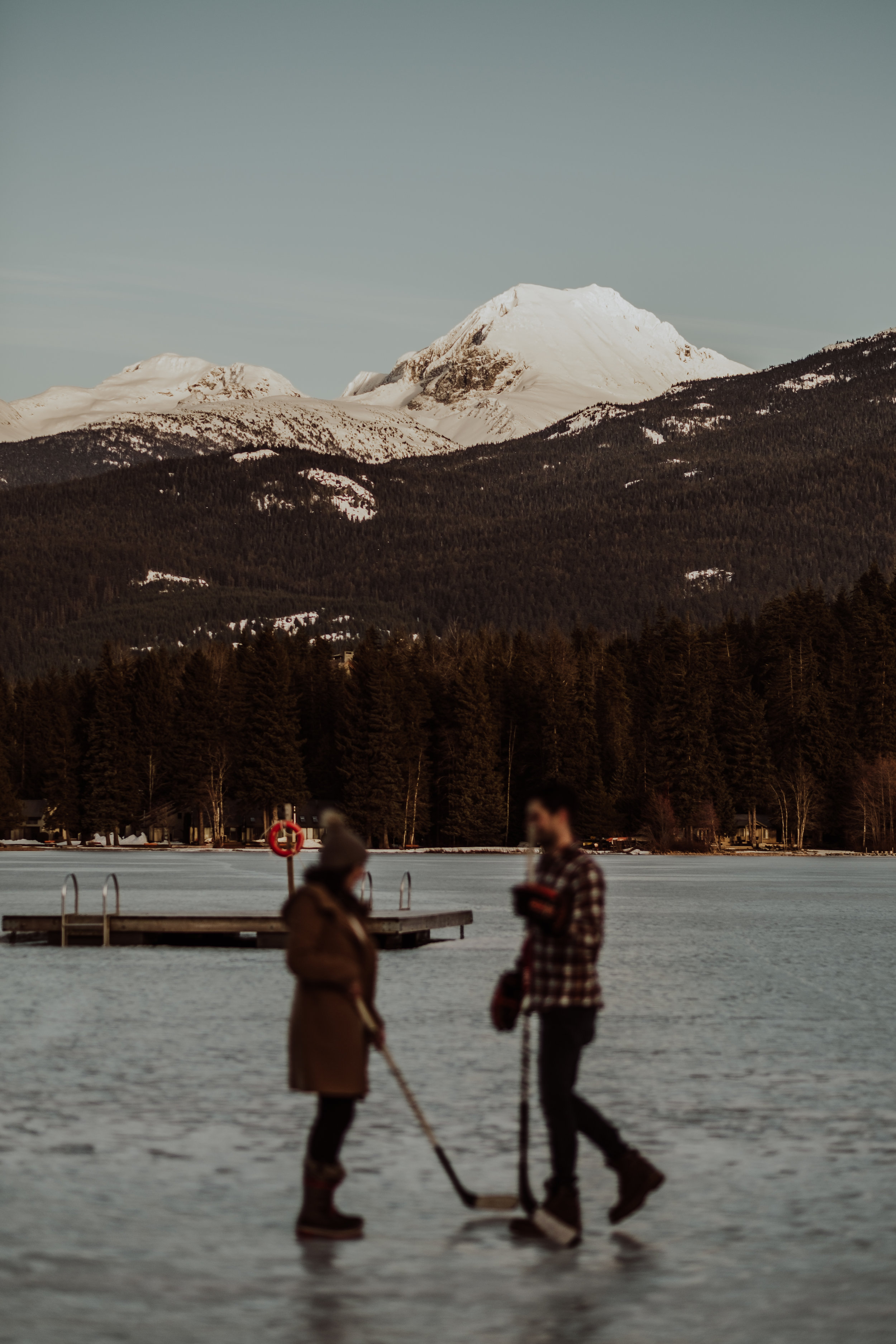 Whistler Engagement Photos - Ice Hockey on a frozen lake in Whistler and in the Mountains