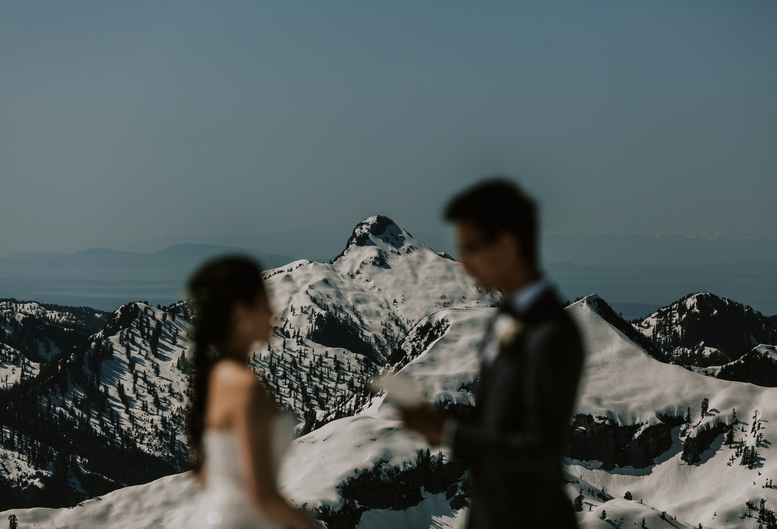 Helicopter Mountain Top Elopement in Pitt Meadows with Sky Helicopters - Snowy Mountaintop Elopement Photos