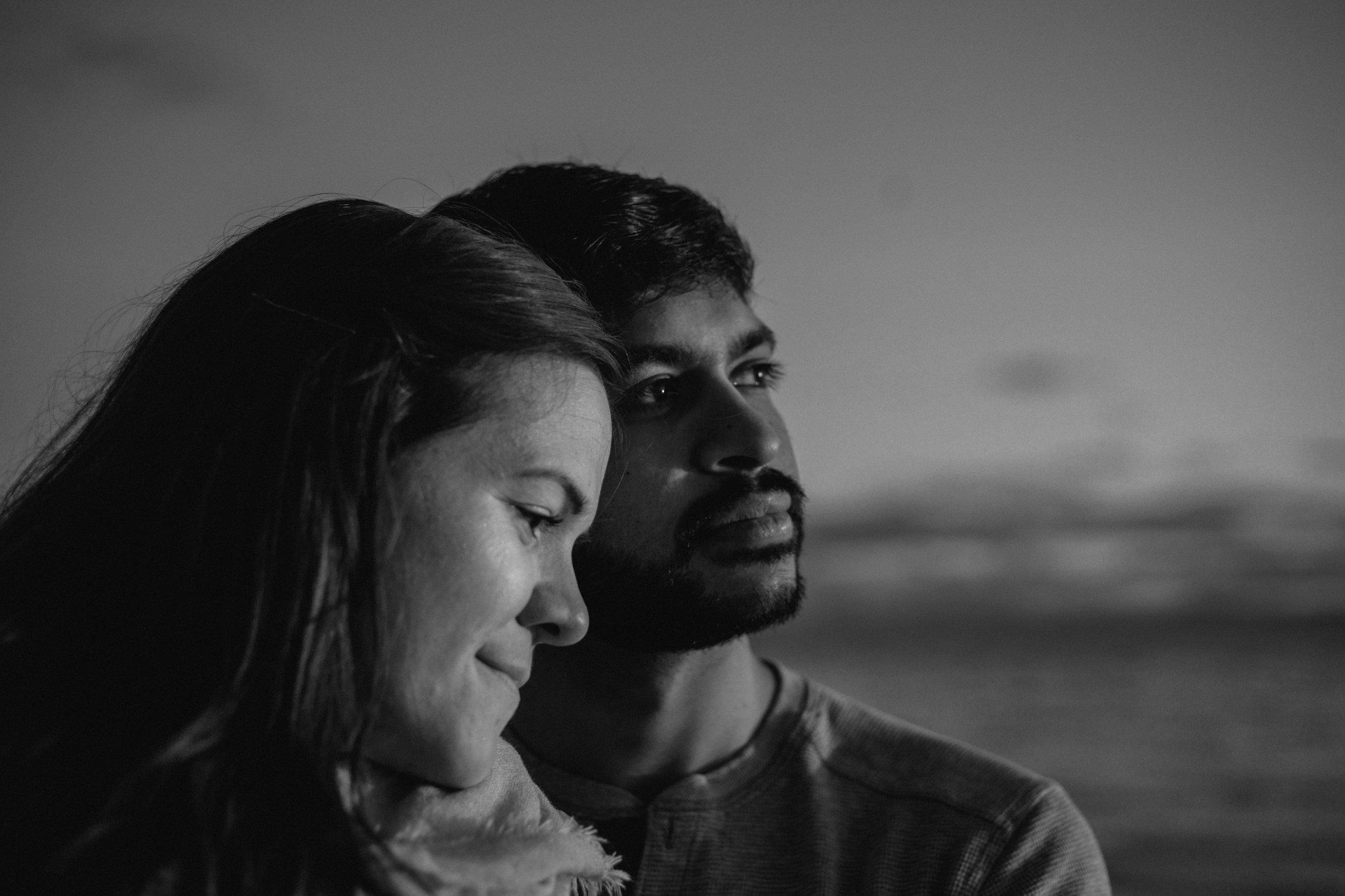Black and White Sunshine Coast BC Engagement Photos on the Beach at Sunset