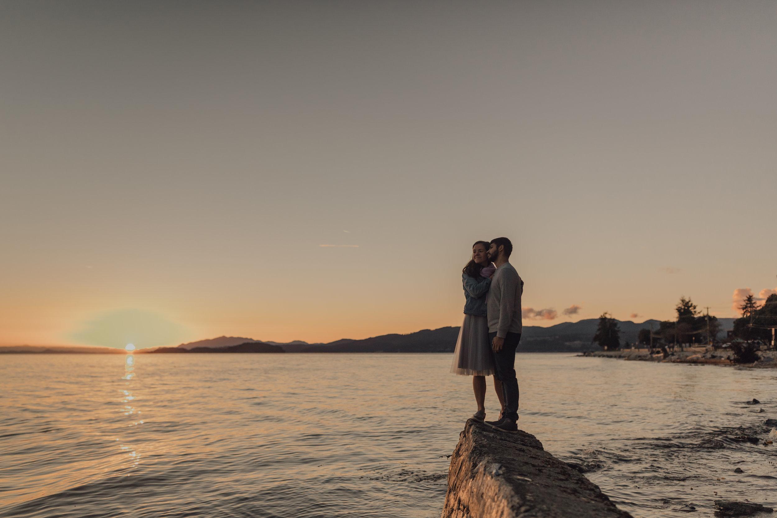 Sunshine Coast BC Engagement Photos on the Beach at Sunset