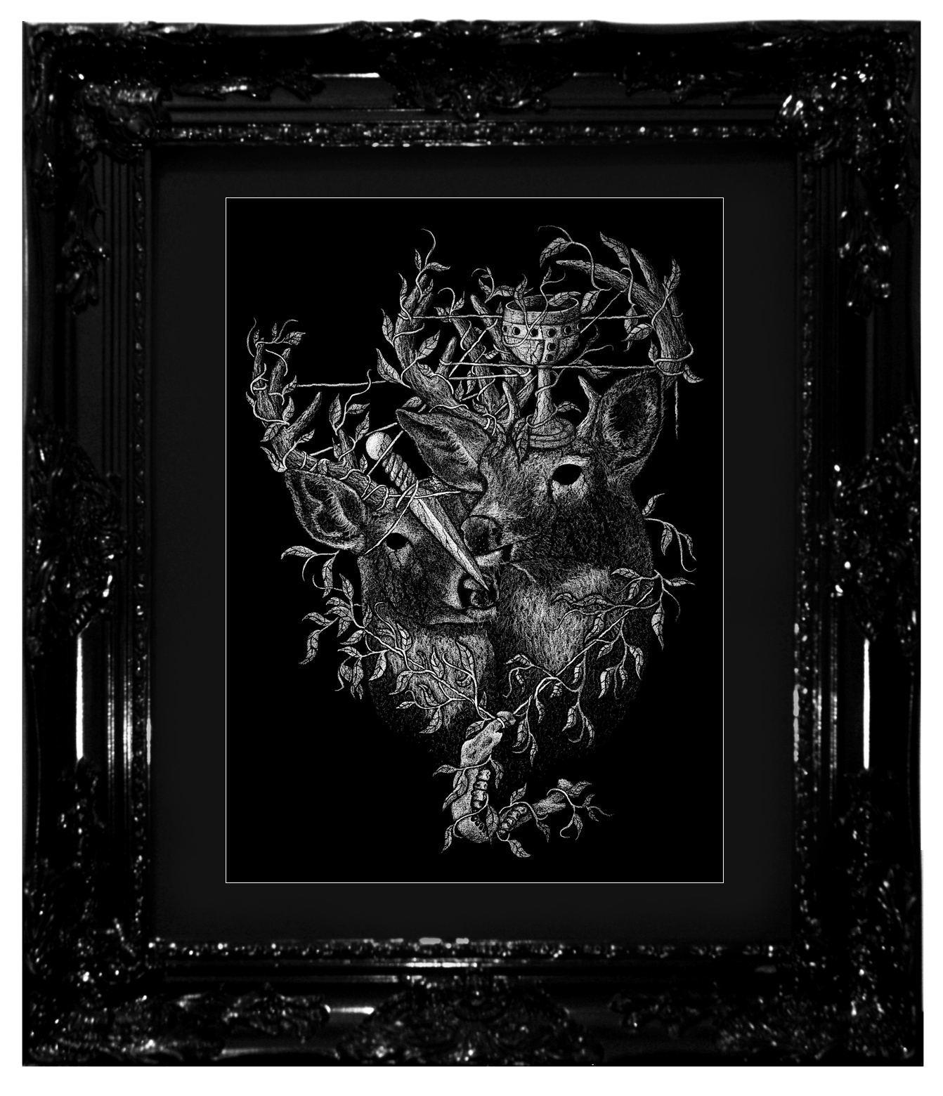 """A New Seed is Sown"", 2017 Ashes, chalk-lead and ink on black cotton-rag paper 16x20"", 18x24"" framed Contact Last Rites Gallery for purchasing information"