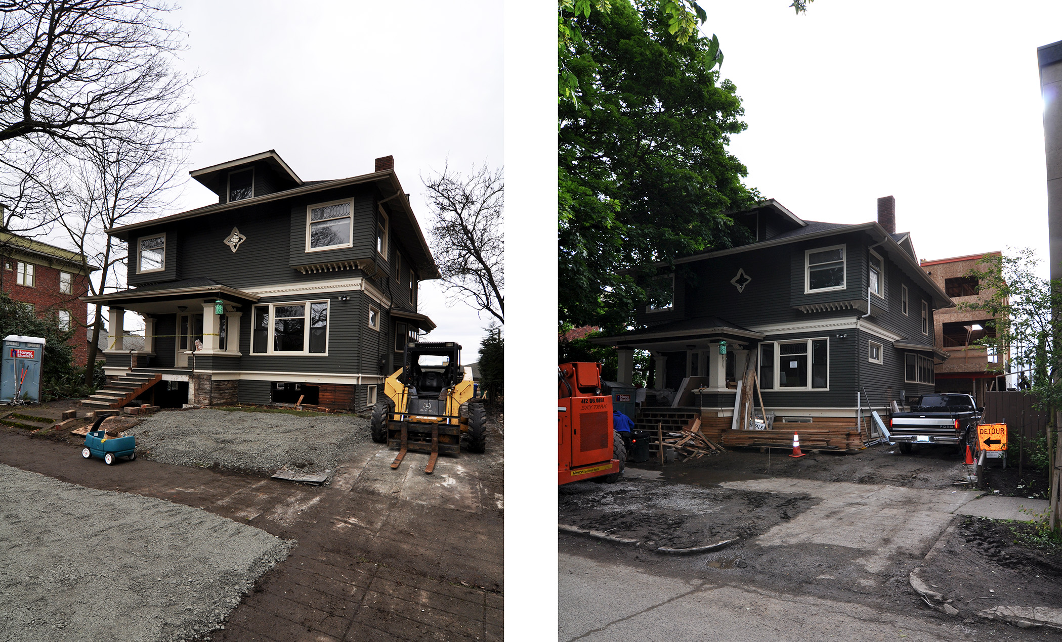 The moment of truth: a forklift pulls the entire house closer to the sidewalk.