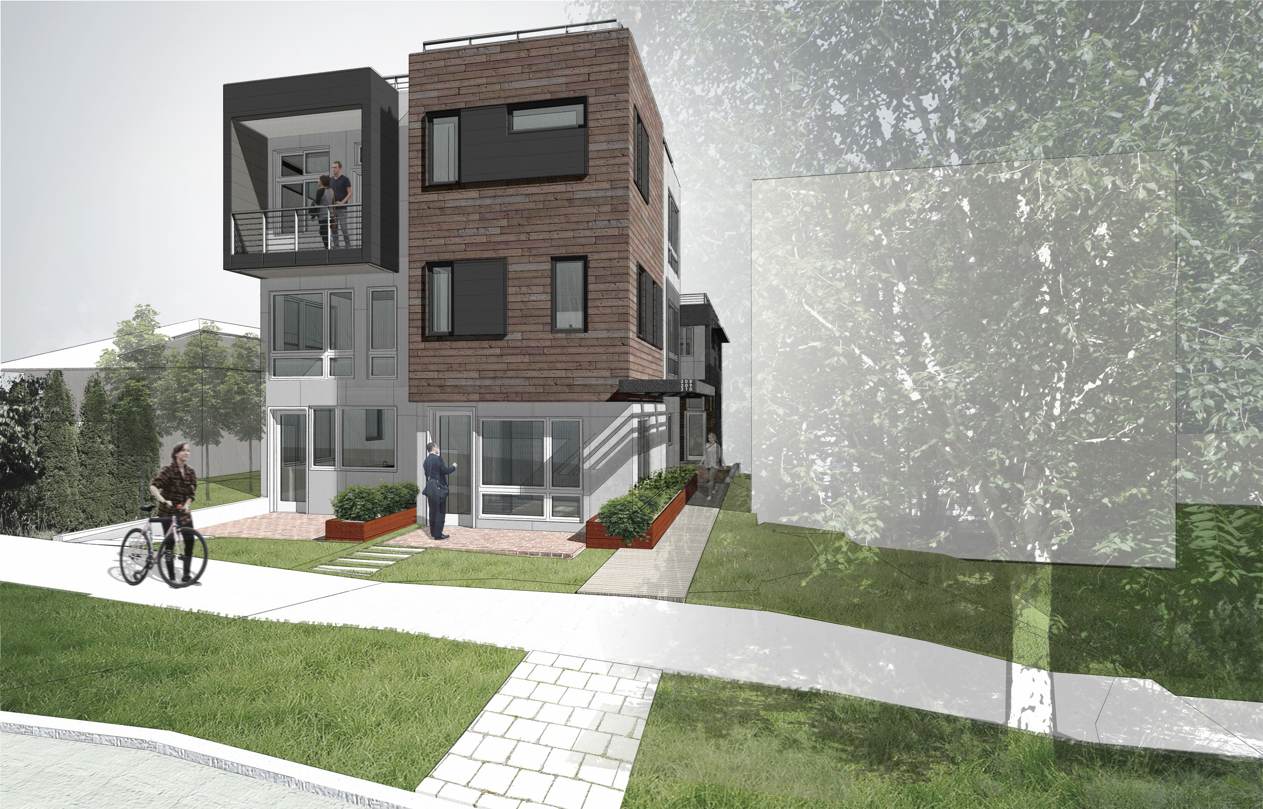 Two of the homes planned will be designed to meet Passive House standards. The current design also proposes reclaimed wood siding at the street facade.