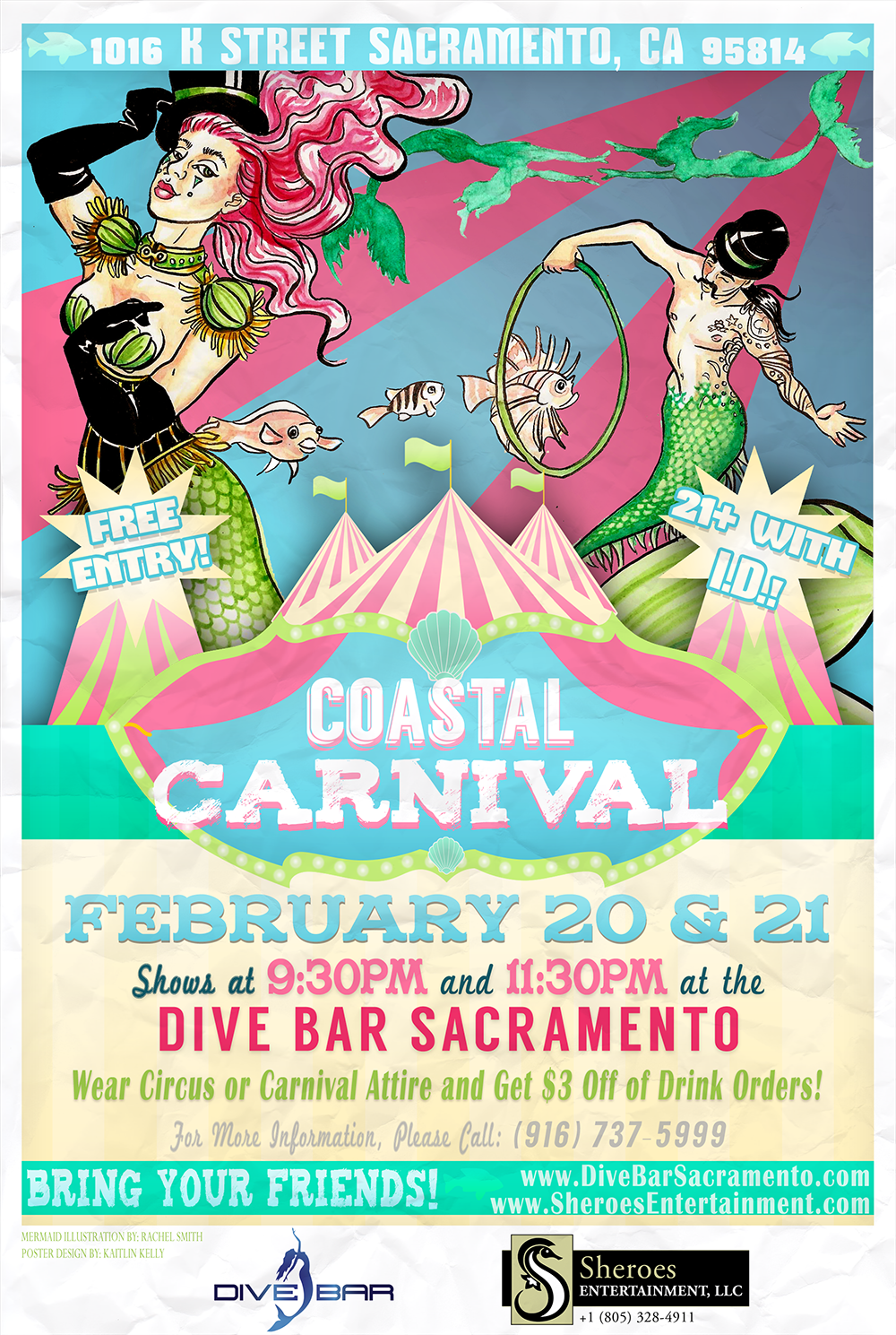 Coastal Carnival Mermaid Poster