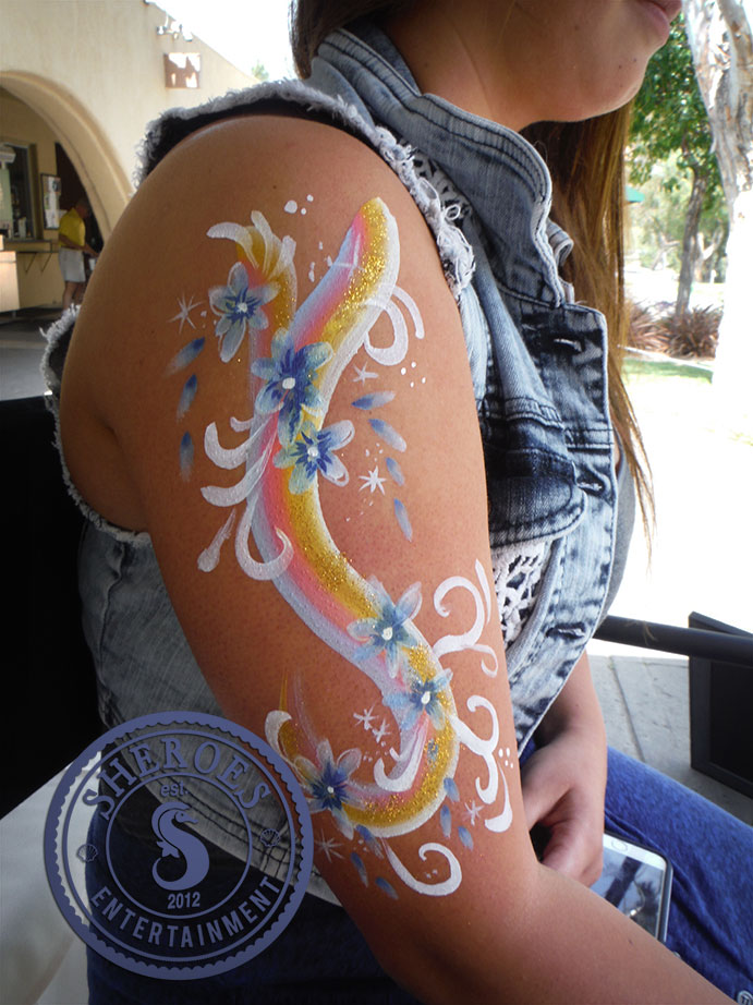 Teens and adults have options too - we offer pretty face paint flower designs to accent faces, hands, or arms.