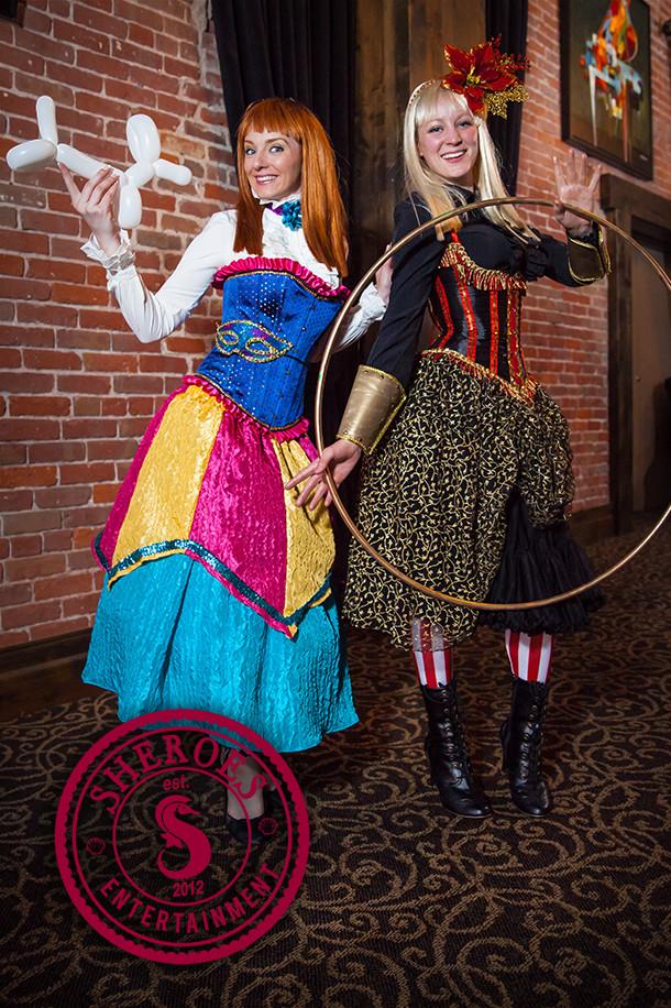"(c) Terri Brindisi: Our ""Confetti Clown"" costume (left) and ""Red & Gold Ringleader"" costume (right)"