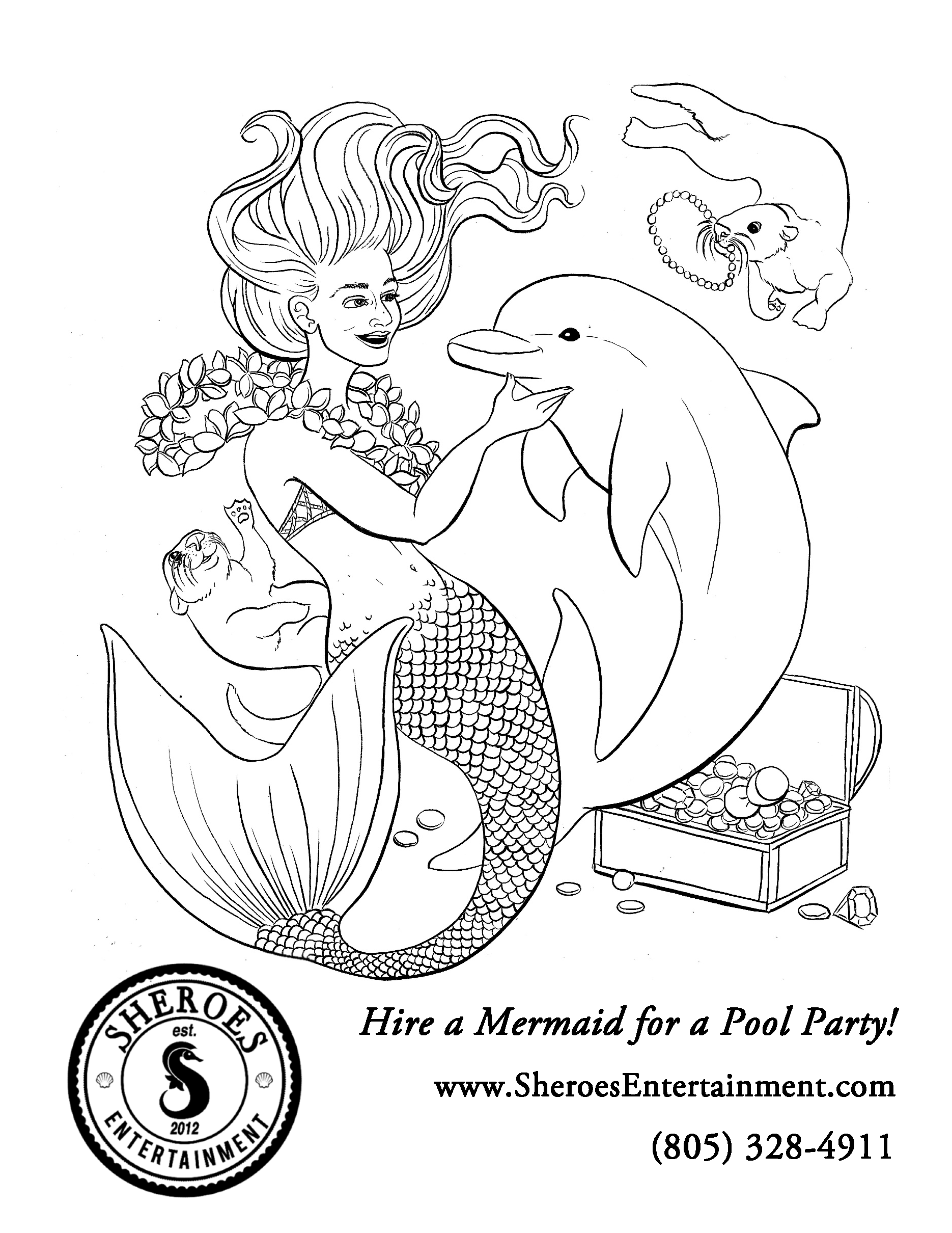 Mermaid  with Treasure Chest Coloring Page.png