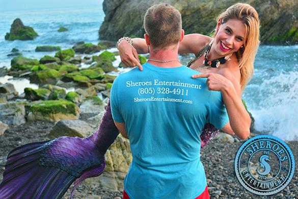 Professional Mermaid and Merwrangler at Beach