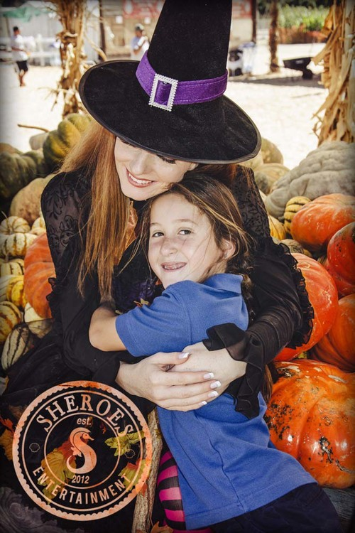 Halloween Party Witch Character at Pumpkin Patch for Kids