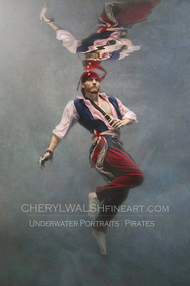 American Flag Pirate Swimming Underwater by Cheryl Walsh