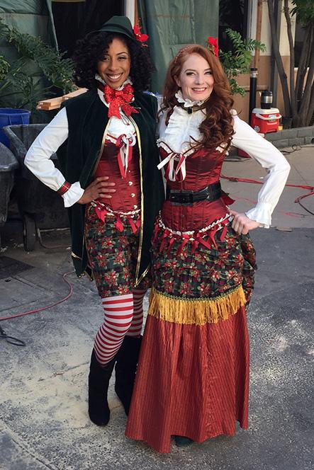 Eve the Elf (left) and Belle (right) on the KTLA Studio Backlot