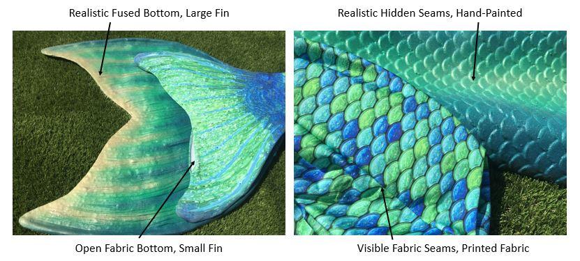 Fabric Mermaid Tail vs Silicone Professional Mermaid Tail Comparison