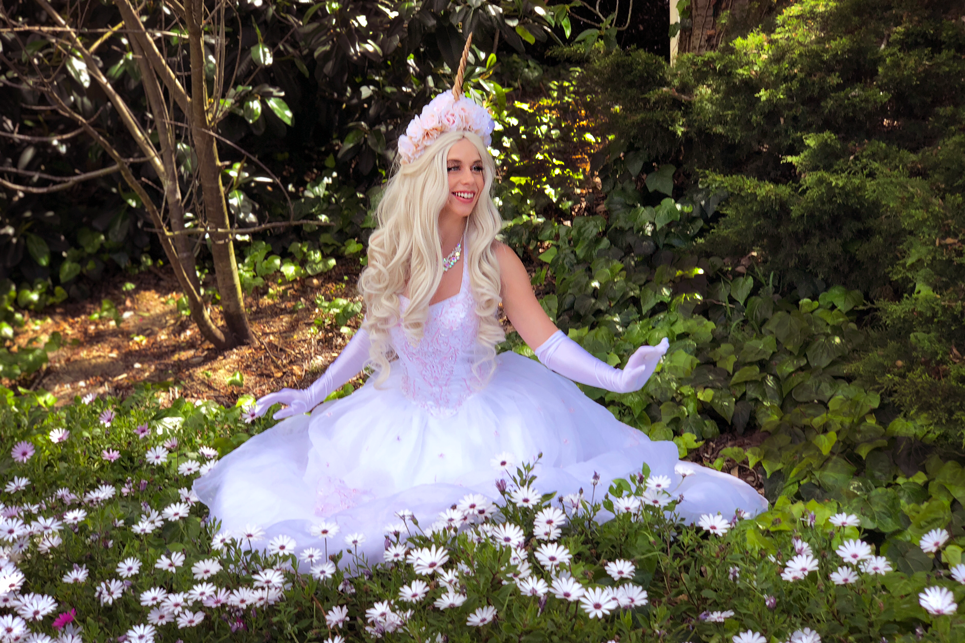 The  Unicorn Princess  (HUMAN) character is a stunning budget-friendly actress alternative to our real live unicorns or can be booked with a real unicorn to entertain the children waiting for lines! Click on her image to learn more!