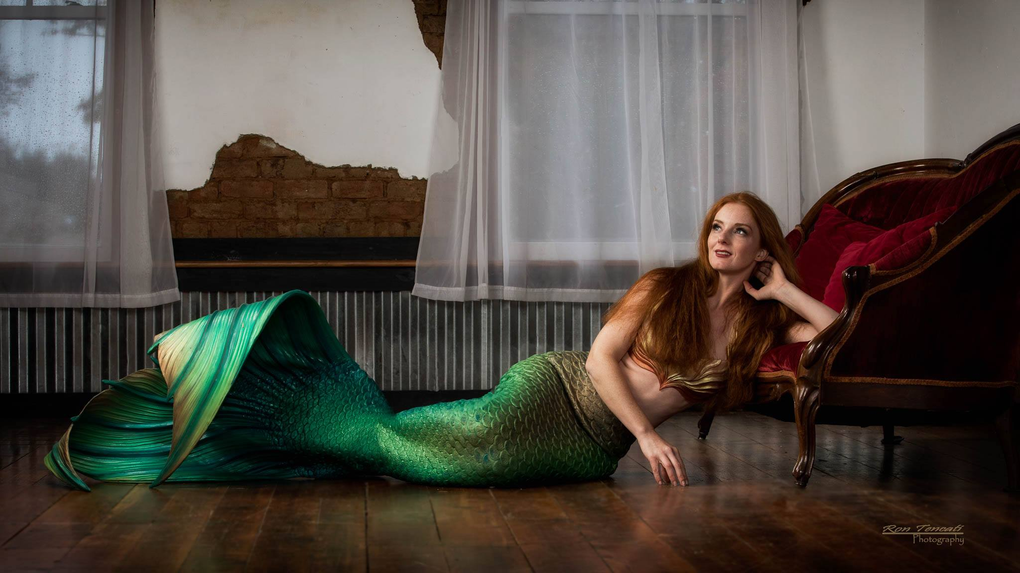 Green silicone mermaid tail photo by Ron Tencati
