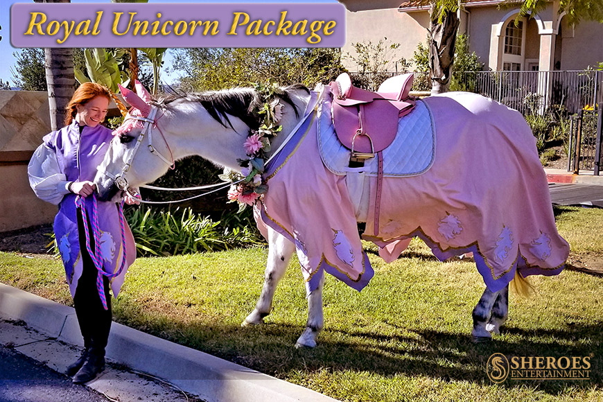 Our Royal Unicorn Package is what dreams are made of - imagine how excited your guests will be when this unicorn and costumed attendant(s) arrive to surprise them on the big day! This image shows our Royal Unicorn themed medieval fantasy costuming set on Milo the Magical Unicorn.