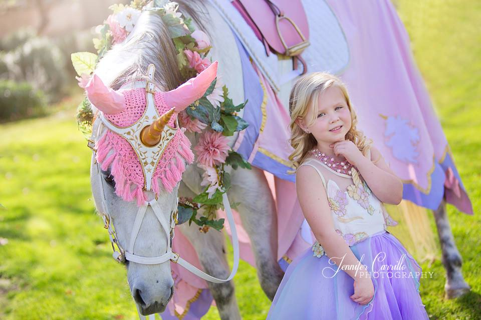 Medieval Unicorn Costuming Resplendent in Pastel Pink and Purple; The Royal Unicorn Birthday Fantasy Package Ensures that Dreams DO Come True!